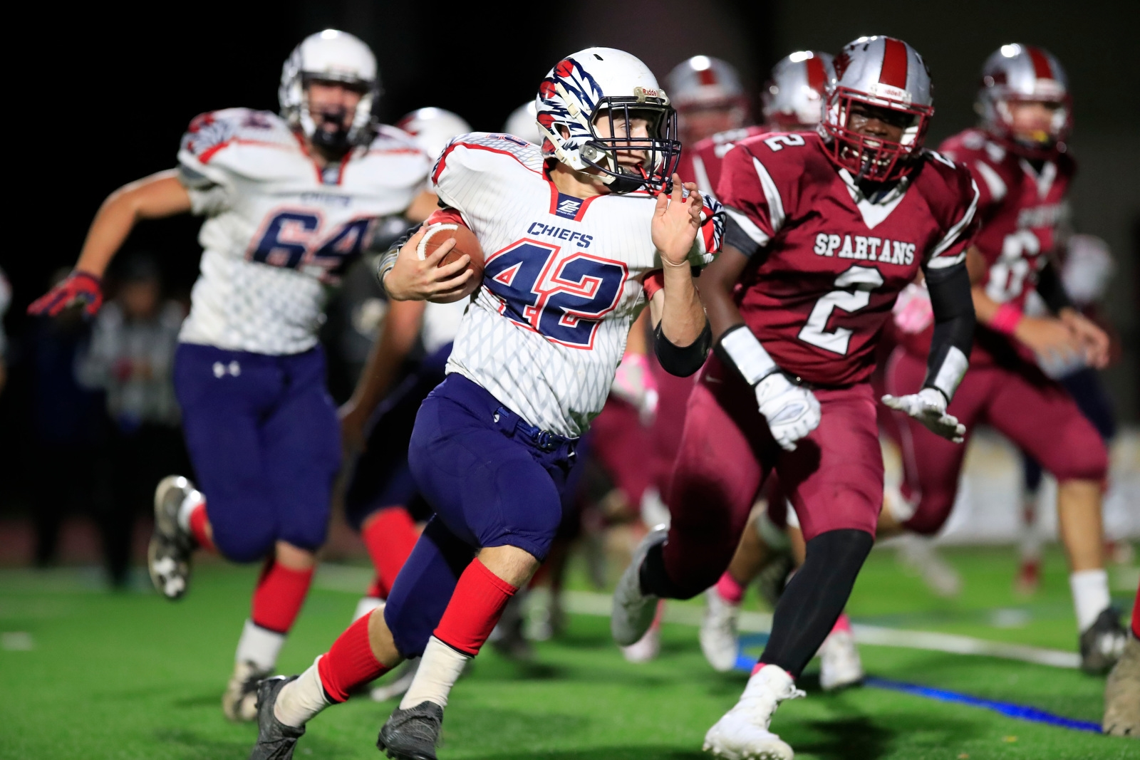 Iroquois C.J. Perillo runs against Starpoint during first half action at Starpoint high school on Friday, Oct. 20, 2017.