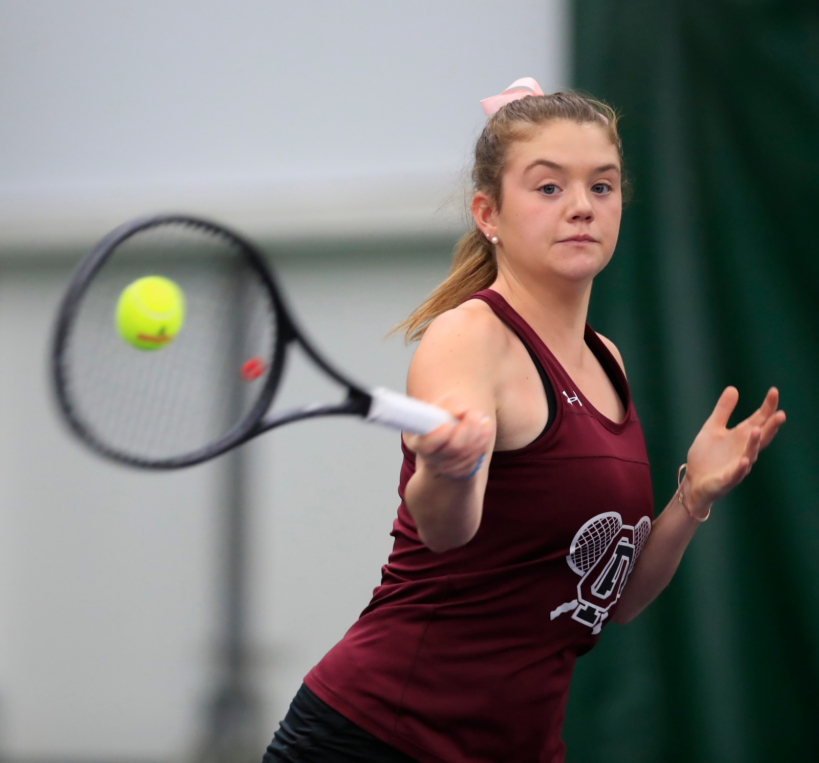 Madigan Humiston from Orchard Park high school during Section semi-final action at the Miller Tennis Center on Saturday, Oct. 21, 2017.