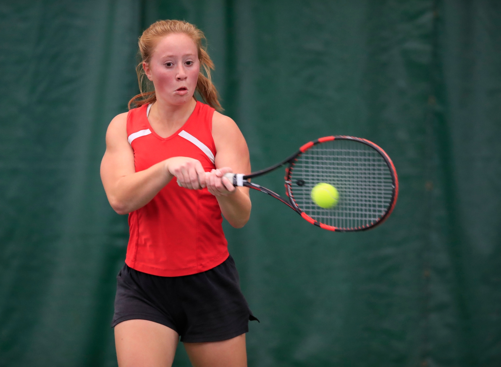 Paige Szmusiak from Lancaster high school during Section semi-final action at the Miller Tennis Center on Saturday, Oct. 21, 2017.