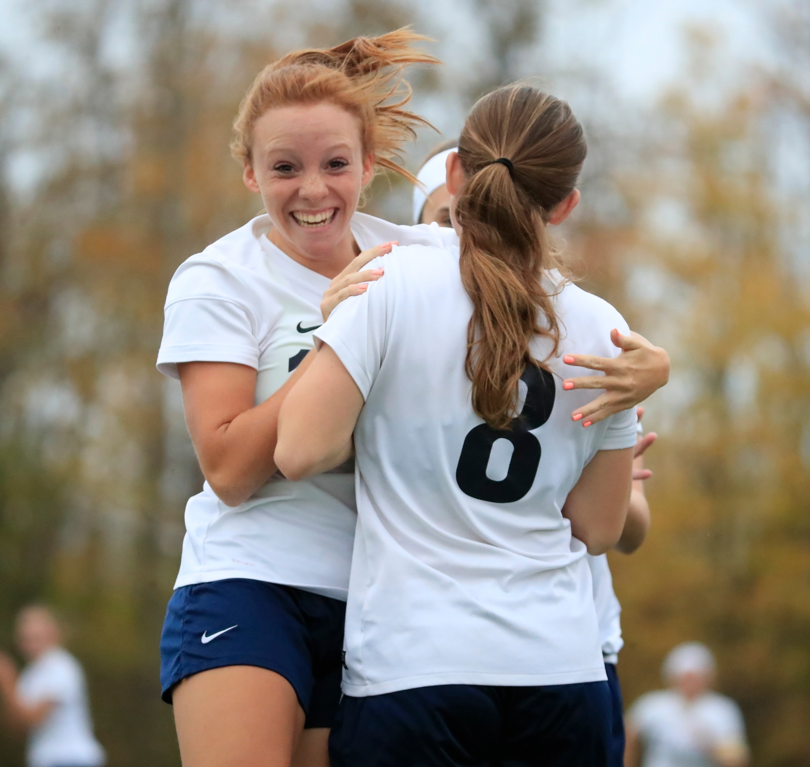 St. Mary's Skylar Baun congratulates Jillian Bernas on her goal against Nardin during first half action at Westwood Park on Monday, Oct. 23, 2017.