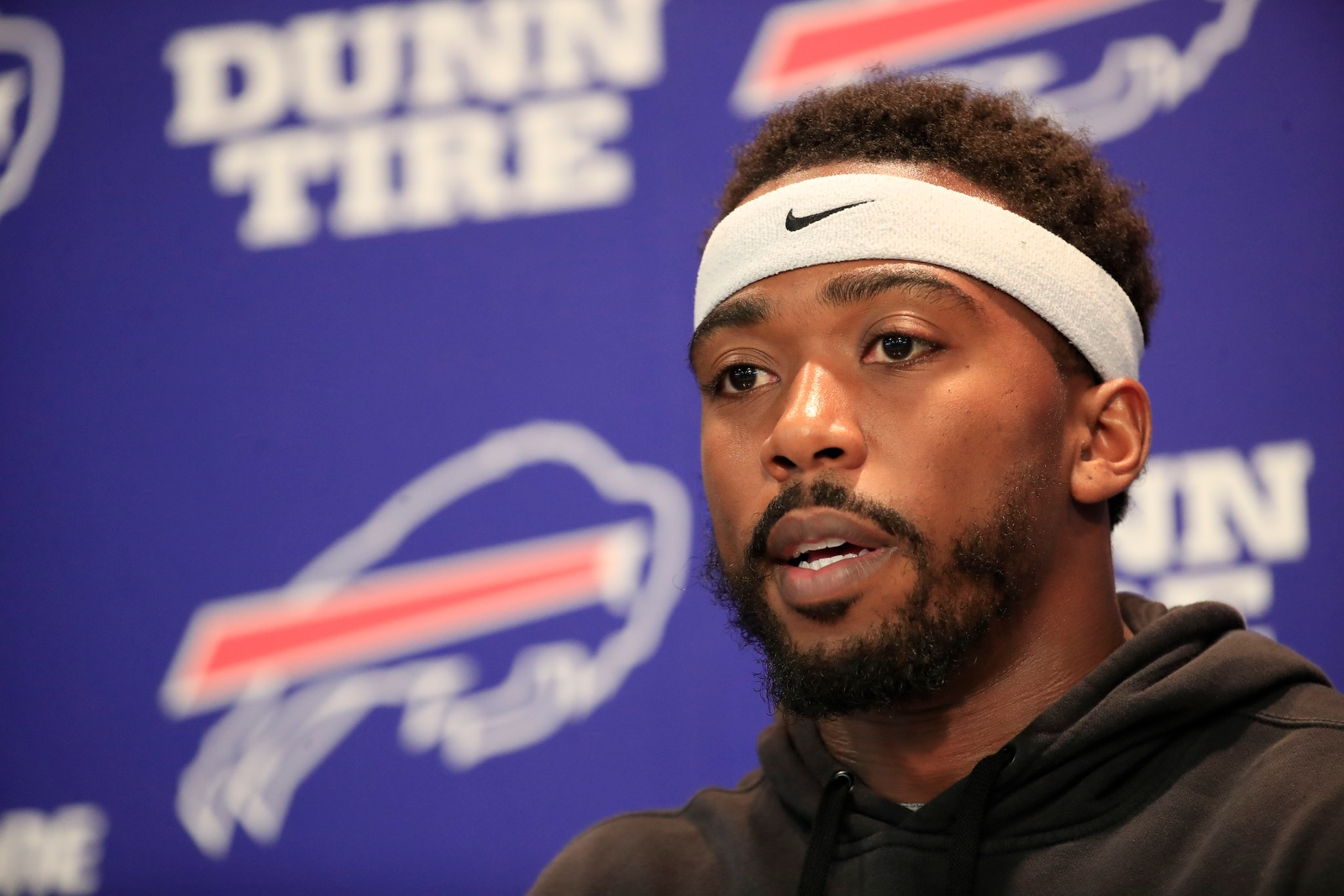 Buffalo Bills quarterback Tyrod Taylor speaks to the media at the AdPro training facility on Tuesday, Oct. 31, 2017.