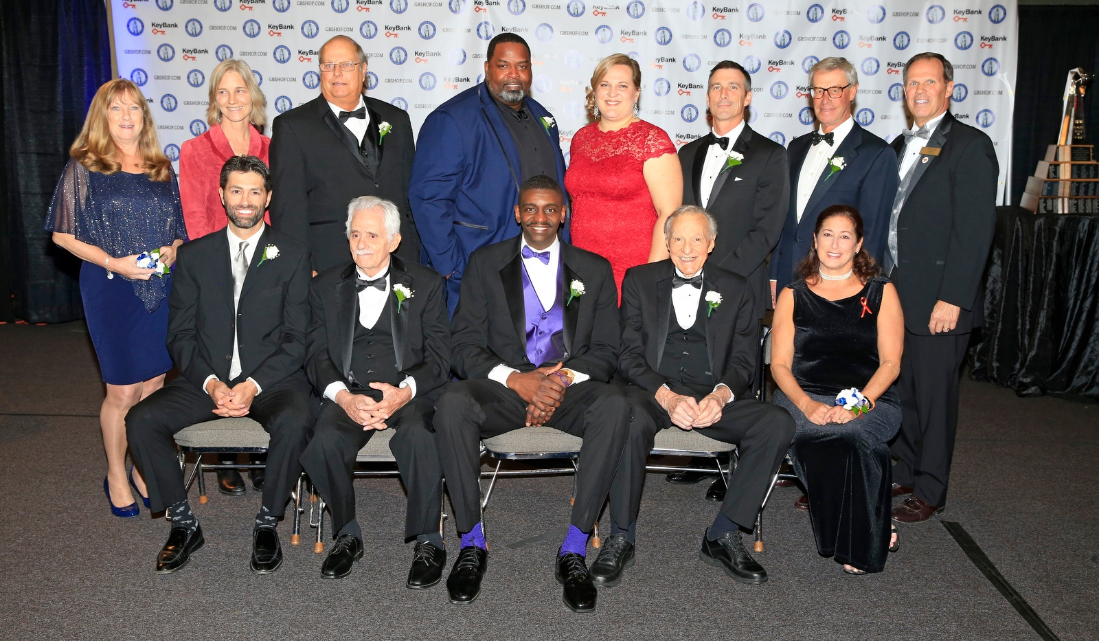 Greater Buffalo Sports Hall of Fame 2017 inductees: Front row, left to right: Michael Peca, Danny DiLiberto, Willie Hutch Jones, Charlie Ou2019Brien, Jodi Hollander (sister of Sandy). Back row, left to right: Terry McGuire (wife of E.J.), Leslie McCormack-Tate (great-granddaughter to Charles Daniels), Dwain Ozark,(son of Dan), Vaughn Parker, Stacey Schroeder-Watt, Tom Terhaar, Mike Keiser and President Tom Koller at the Buffalo Convention Center on Wednesday, Nov. 1, 2017.