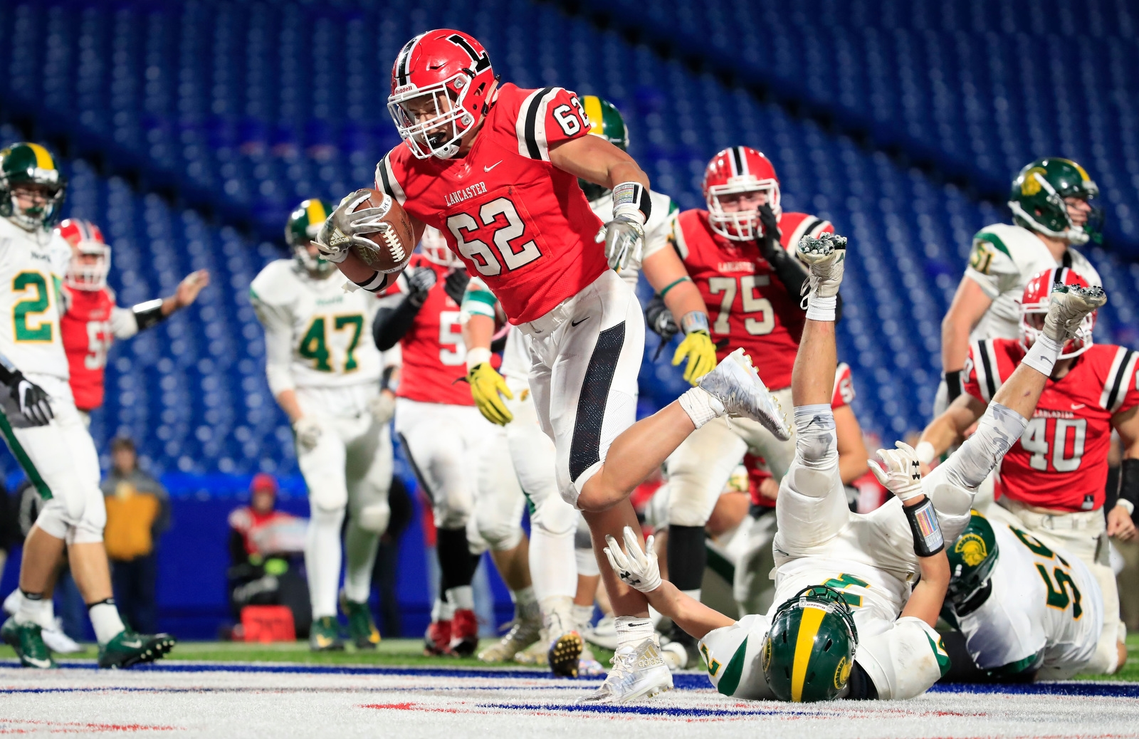 Lancaster running back Joseph Andreessen scores against Williamsville North during the first half of the Section VI Class AA Championships at New Era Field on Friday, Nov. 3, 2017.