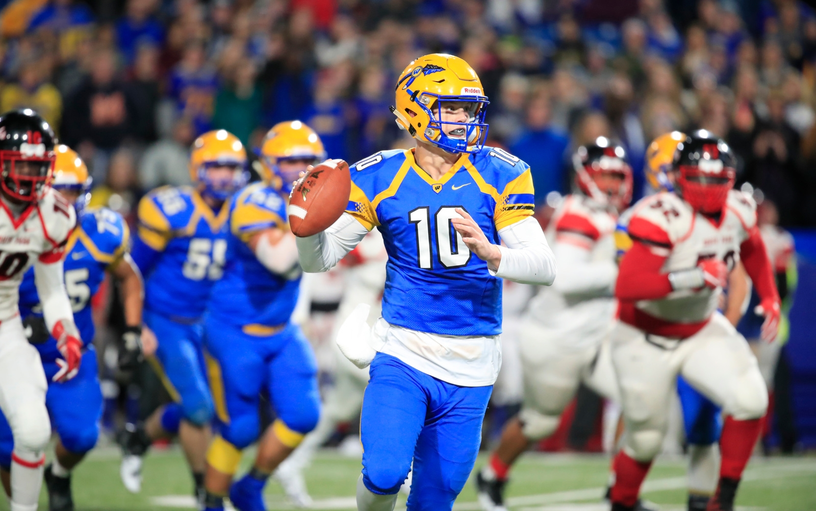 West Seneca West Matt Myers throws against South Park during the first half of the Section VI Class A Championships at New Era Field on Saturday, Nov. 4, 2017.