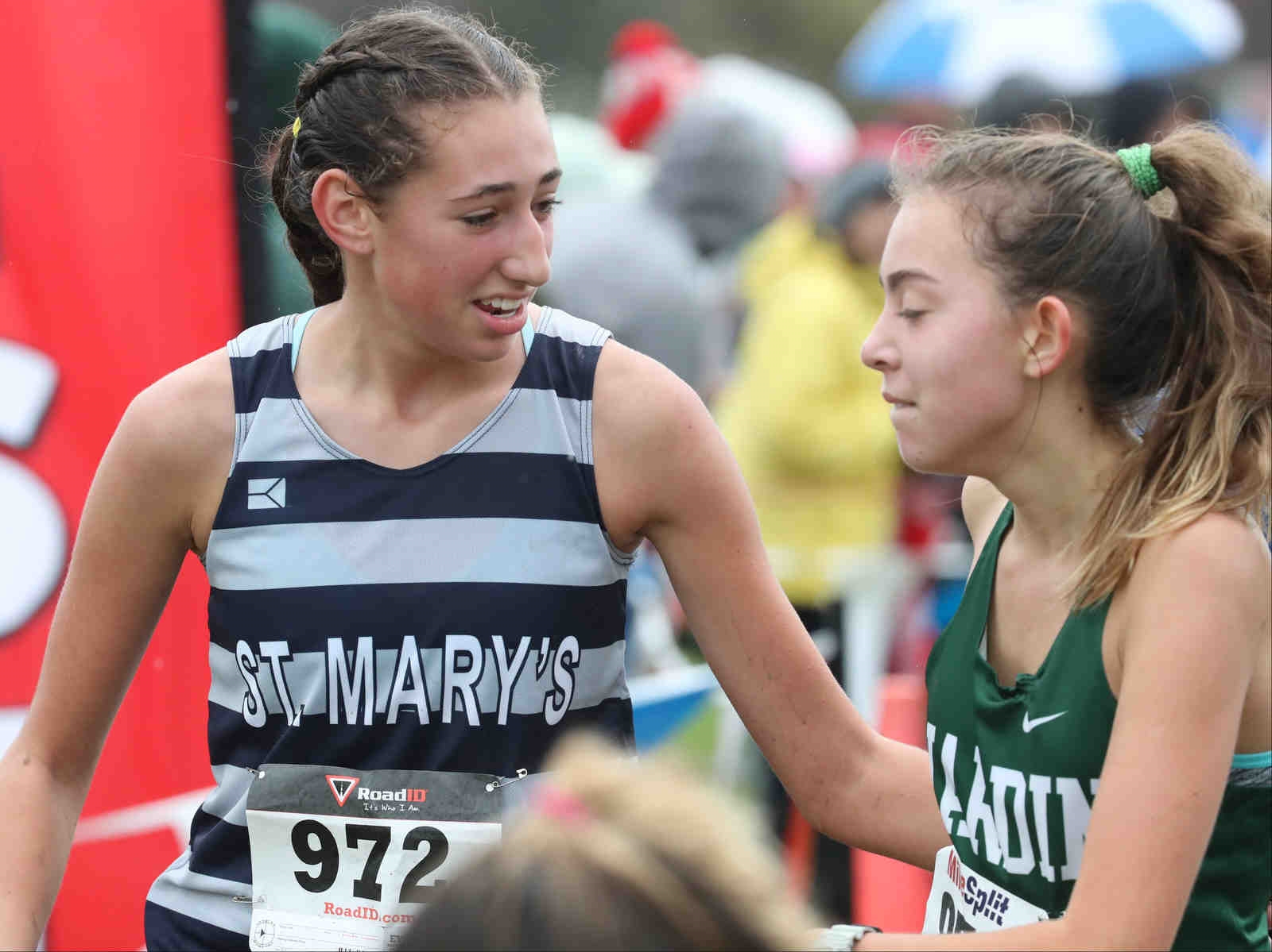 Libby Benzer of St. Mary's wins the Monsignor Martin Association cross country championships at Knox farms in East Aurora.