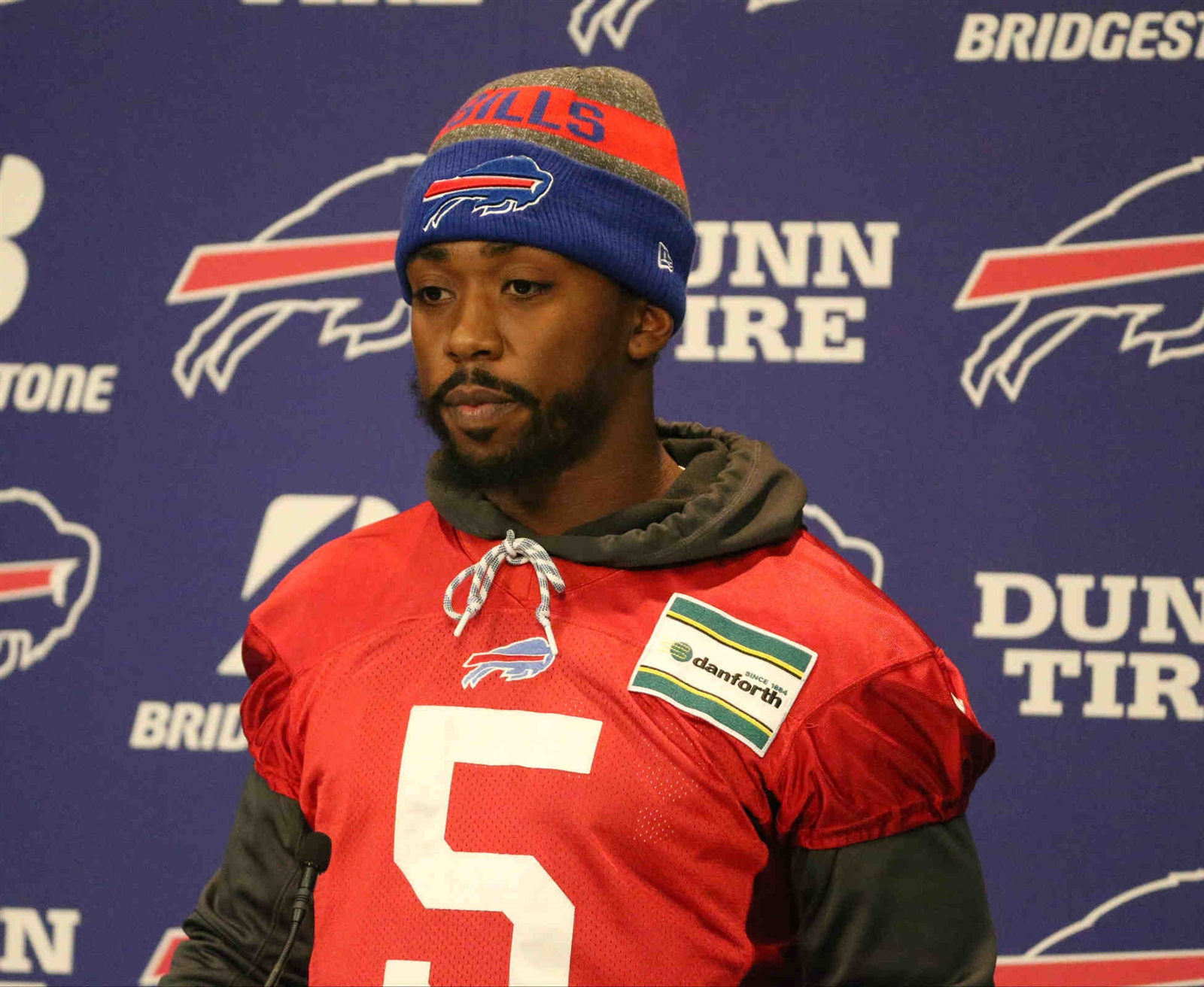 Buffalo Bills quarterback Tyrod Taylor talks to the media about being benched by Buffalo Bills head coach Sean McDermott.