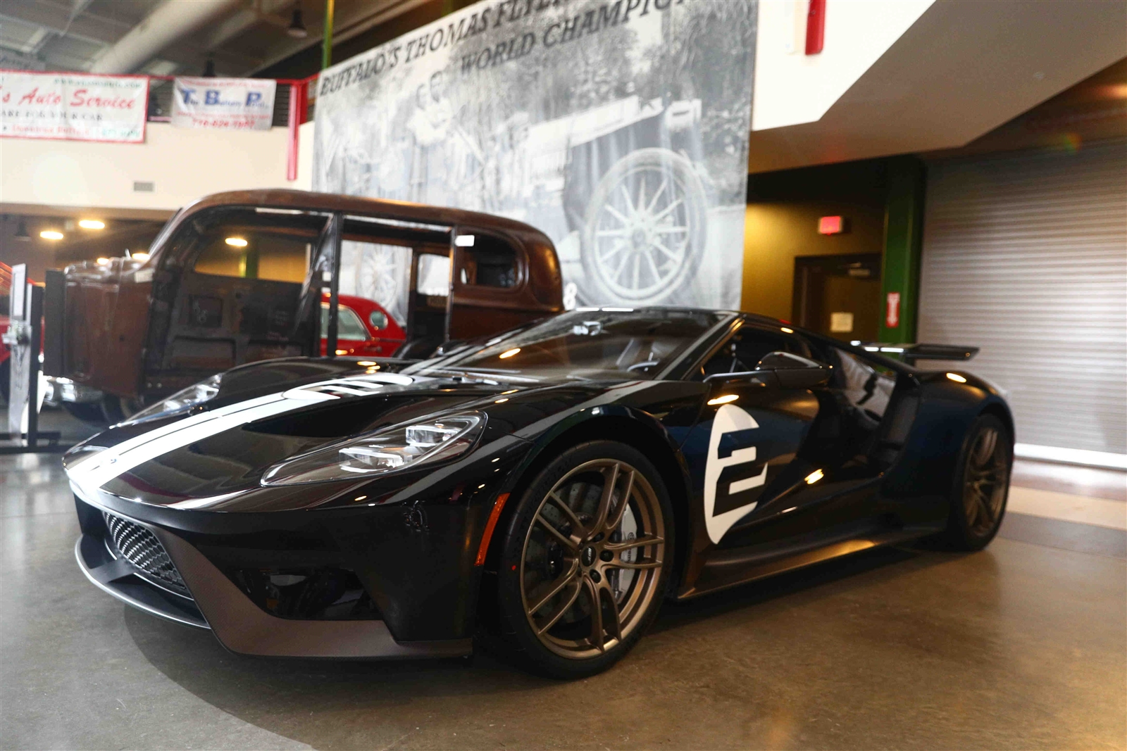 This 2017 Ford GT '66 Series Supercar is on display at the Buffalo Transportation/Pierce-Arrow Museum, 263 Michigan Ave., in Buffalo. The Ford GT has a carbon fiber body and a 3.5L EcoBoost V6 engine. The rare car is owned by Paul and Lauren Fix of Clarence. It is valued at $550,000.