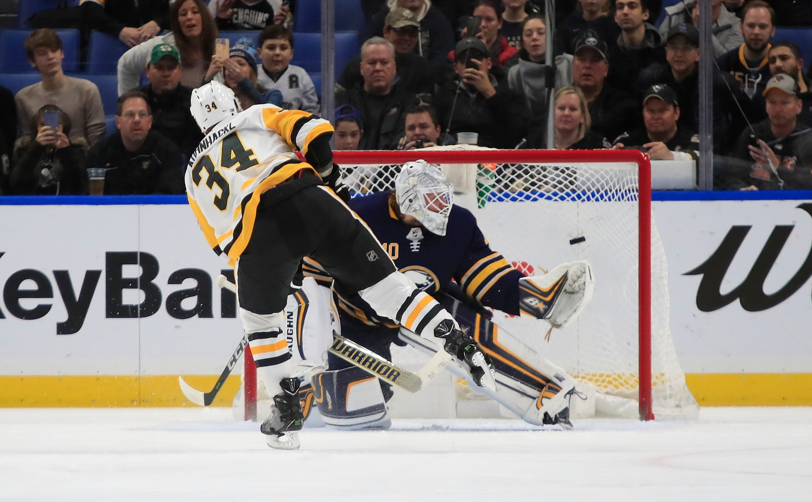 Buffalo Sabres goaltender Robin Lehner gets beat by Pittsburgh Penguins Tom Kuhnhackly on a penalty shot during first period action at the KeyBank Center on Friday, Dec. 1, 2017.