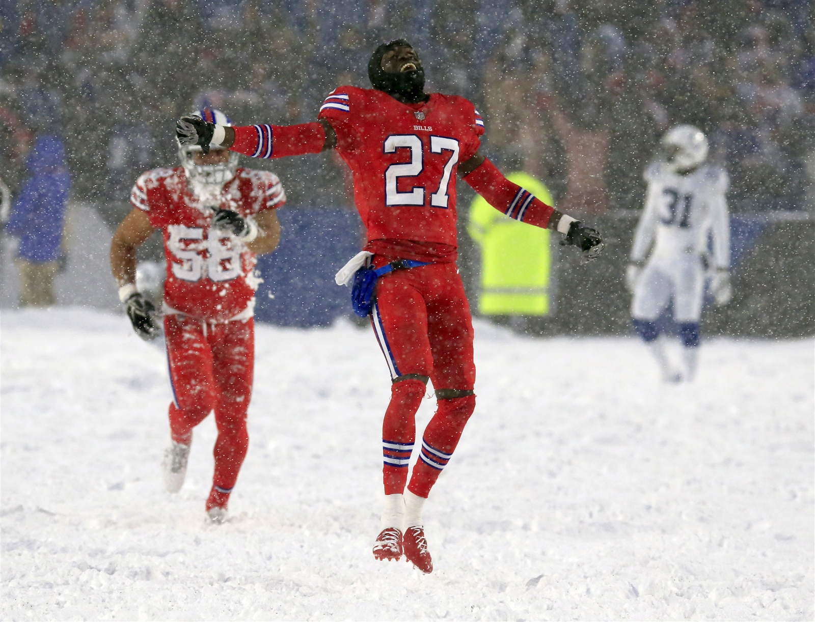 Buffalo's Treu2019Davious White celebrates after defeating the Indianapolis Colts during overtime.