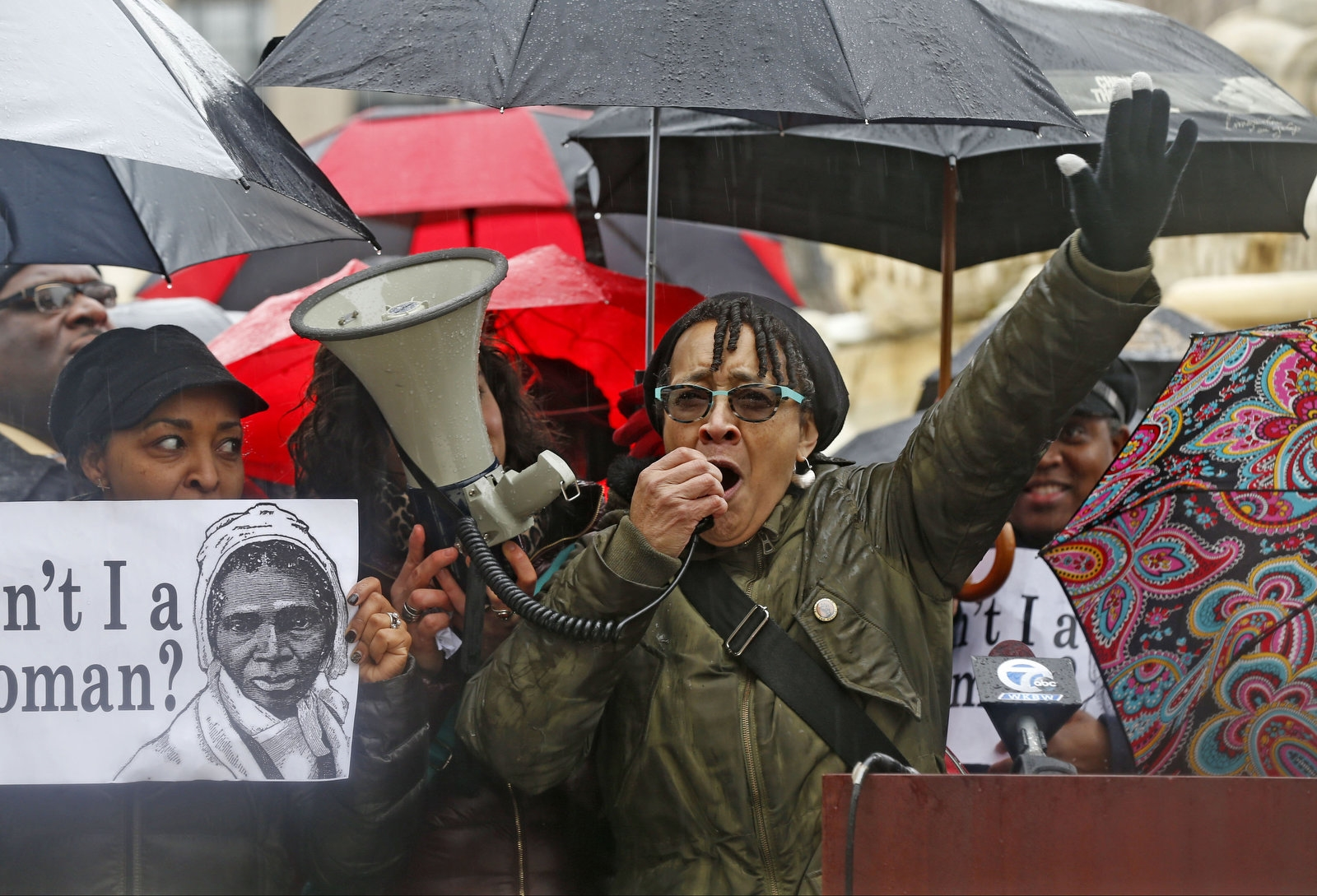 Lorna Hill speaks at the rally calling for the ouster of Carl Paladino from the Buffalo Board of Education. The rally was held in Niagara Square on Tuesday, Jan. 3, 2017.