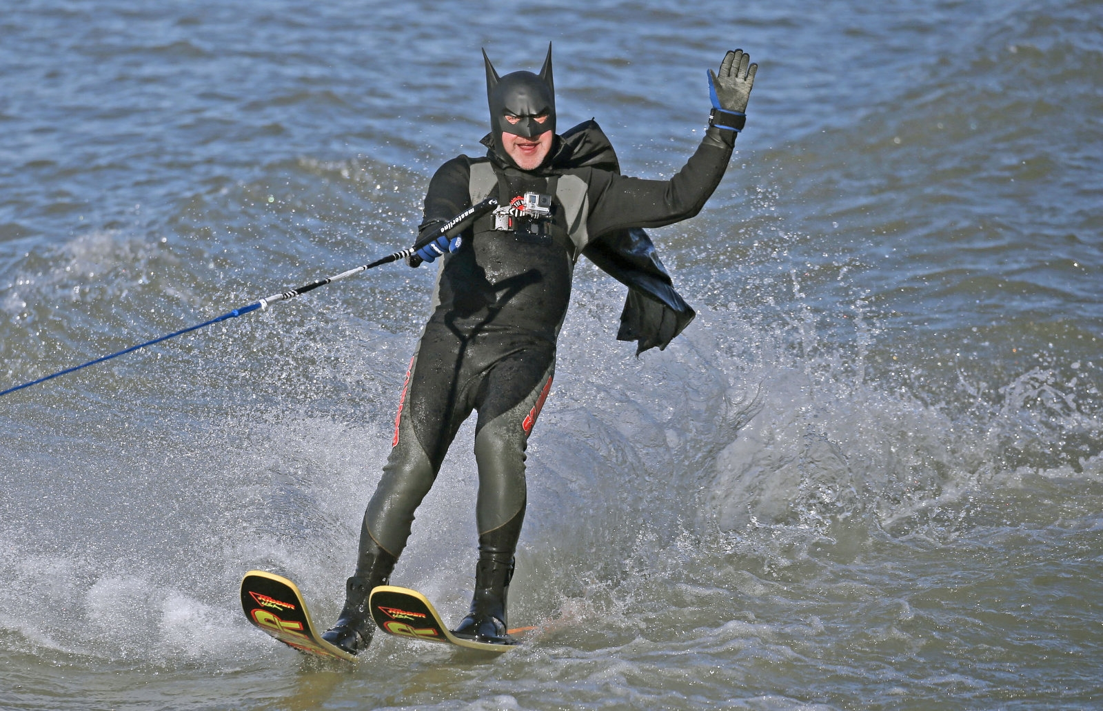 Mark Milanovich of Lewiston, dressed as Batman, navigates the frigid Niagara River on his water skis at the foot of Lewiston Landing as he takes part in the annual Neptune Water Ski Club charity competition. This was on Sunday, Jan. 1, 2017.