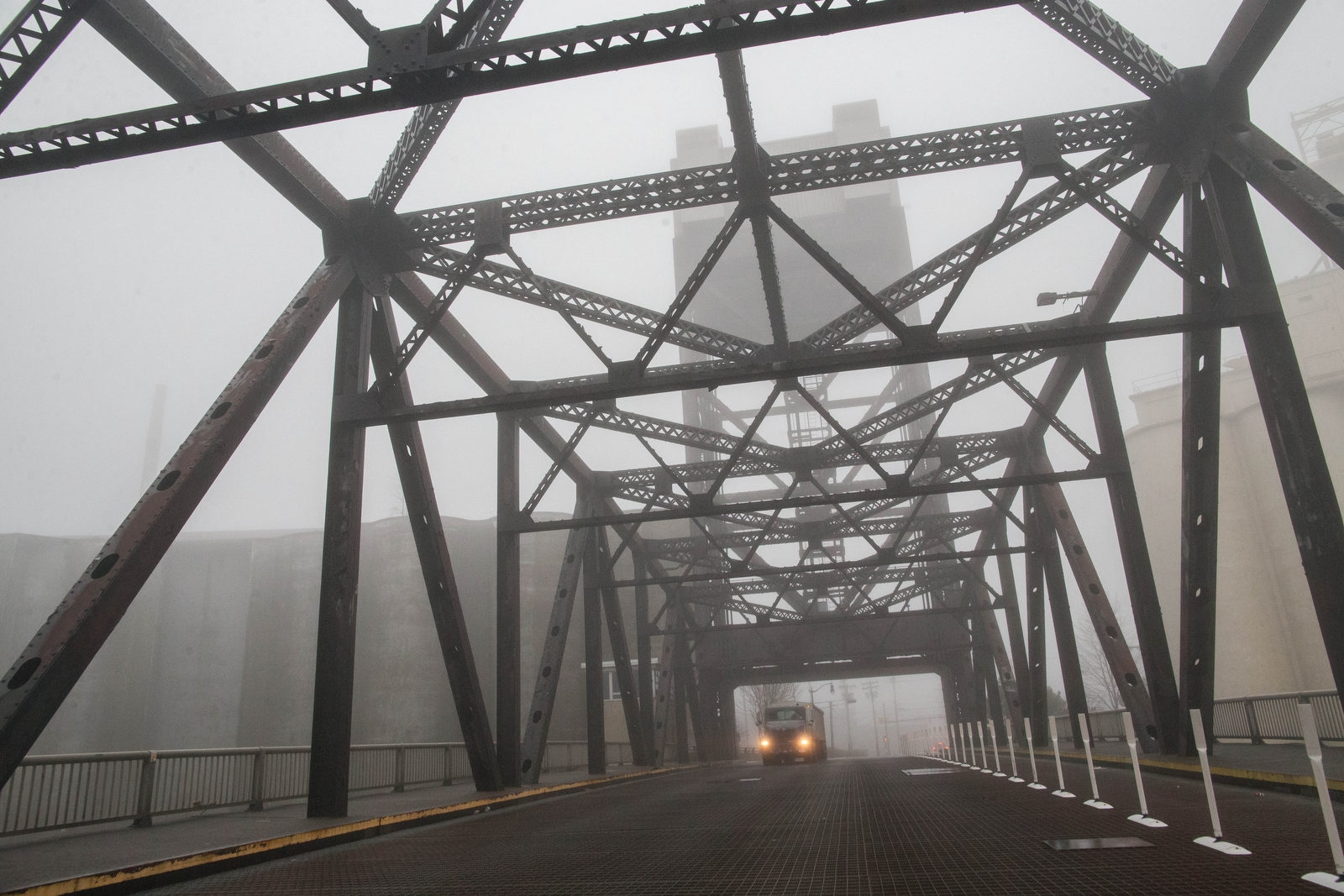 Heavy fog enshrouds the Ohio Street lift bridge on Jan. 12.