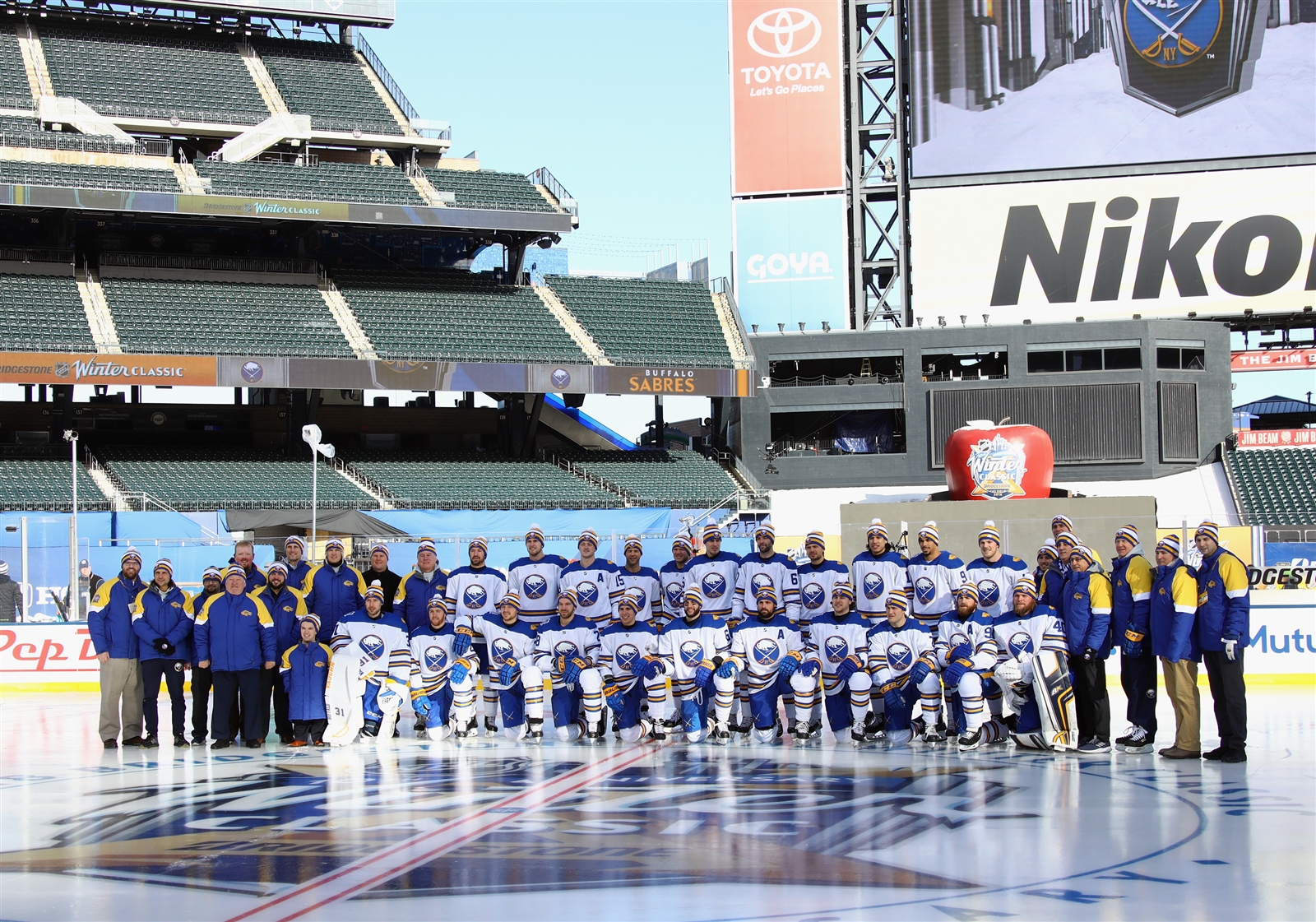 The Buffalo Sabres pose for a team photo prior to practice.