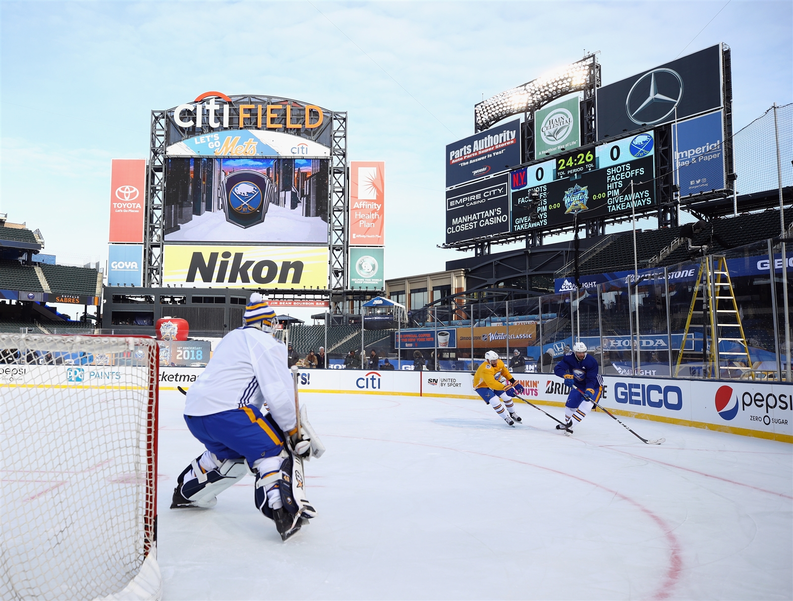 The Buffalo Sabres practice at Citi Field on Dec. 31, 2017, at Citi Field in Queens. The team will take part in the 2018 Bridgestone NHL Winter Classic on New Year's Day.