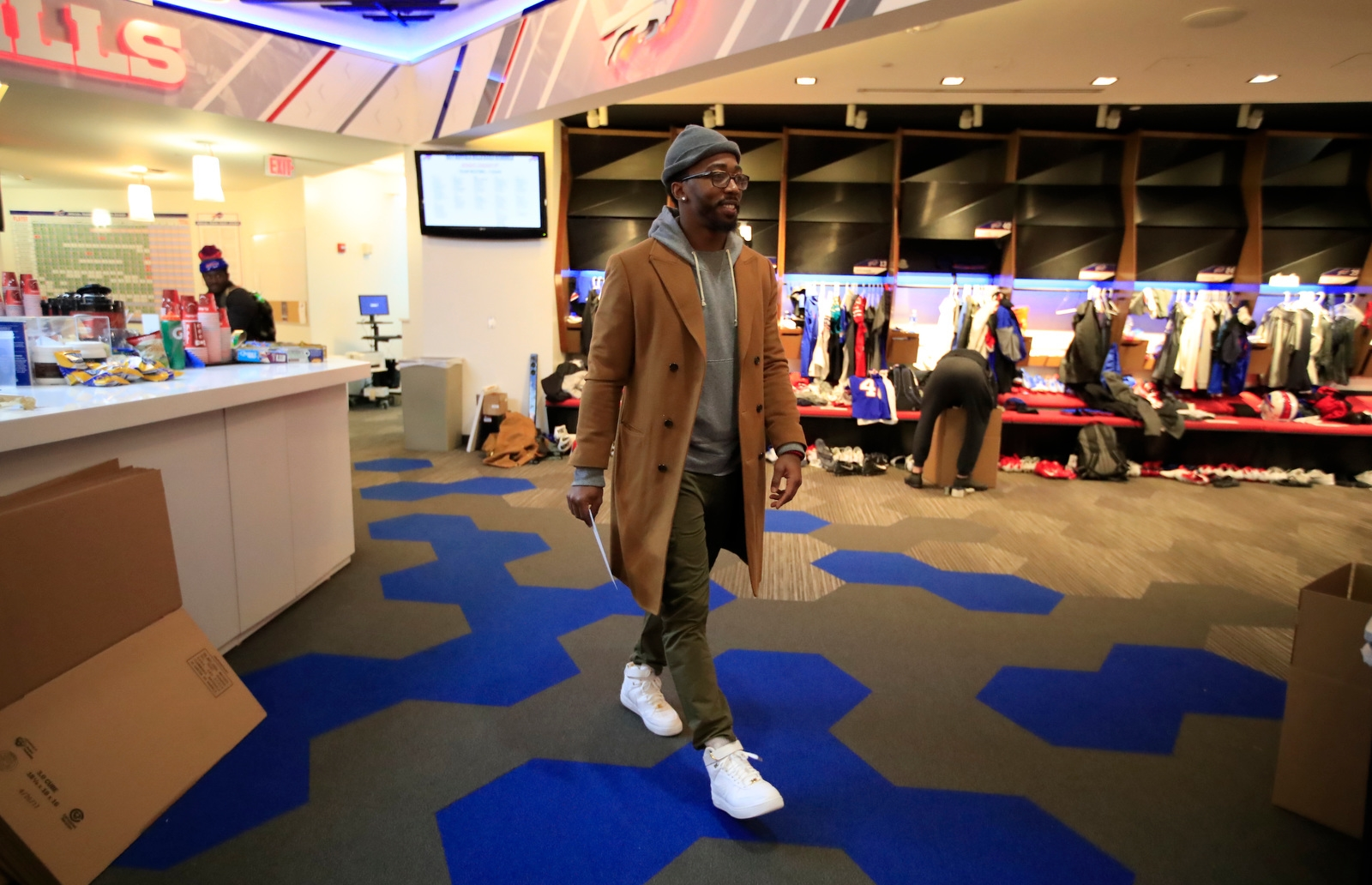 Buffalo Bills quarterback Tyrod Taylor walks through the locker room the day after closing out the season with a loss to the Jacksonville Jaguars on Monday, Jan. 8, 2018.