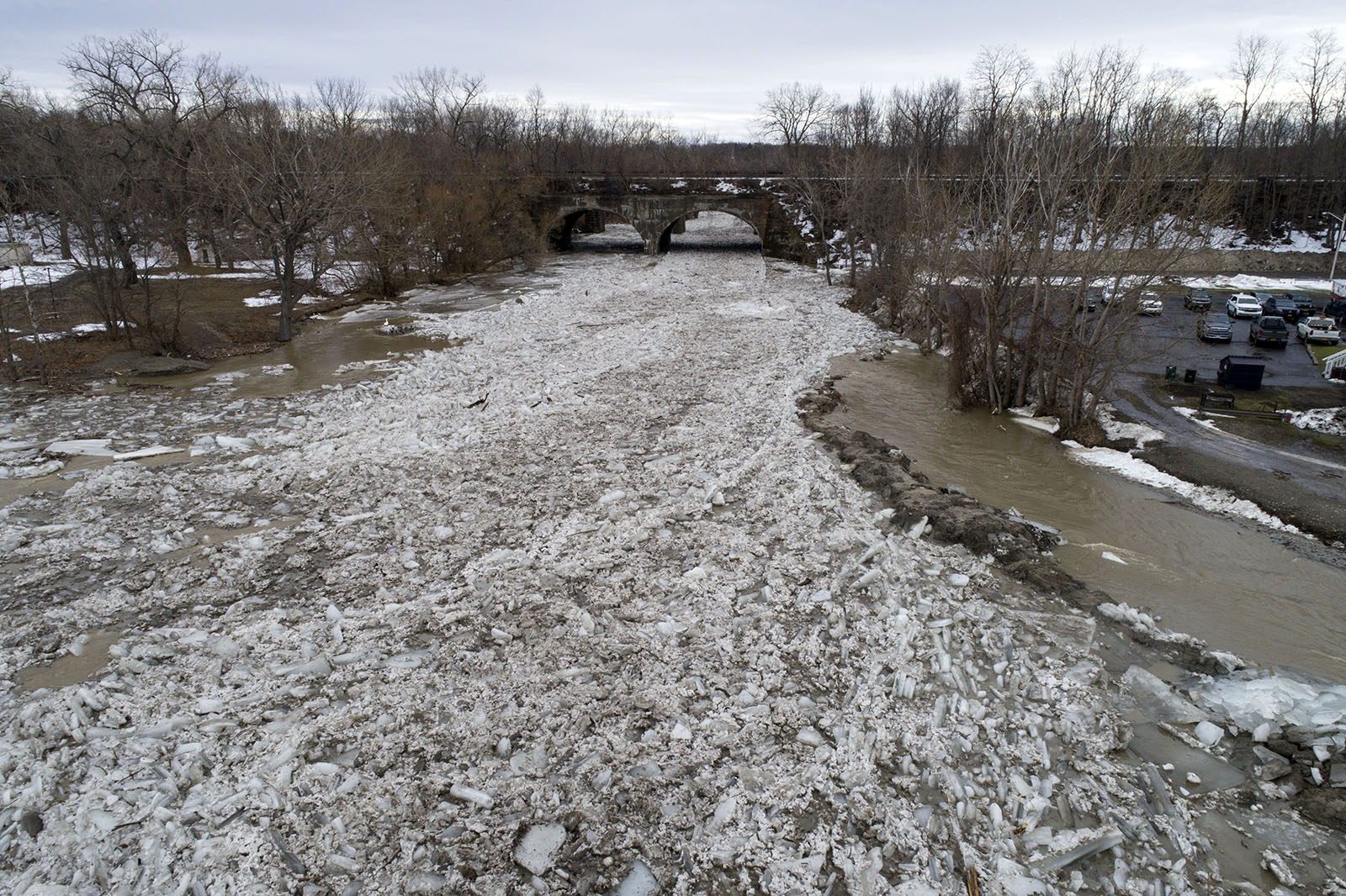 Ice jams the mouth of Walnut Creek where it flows into Lake Erie in Silver Creek..