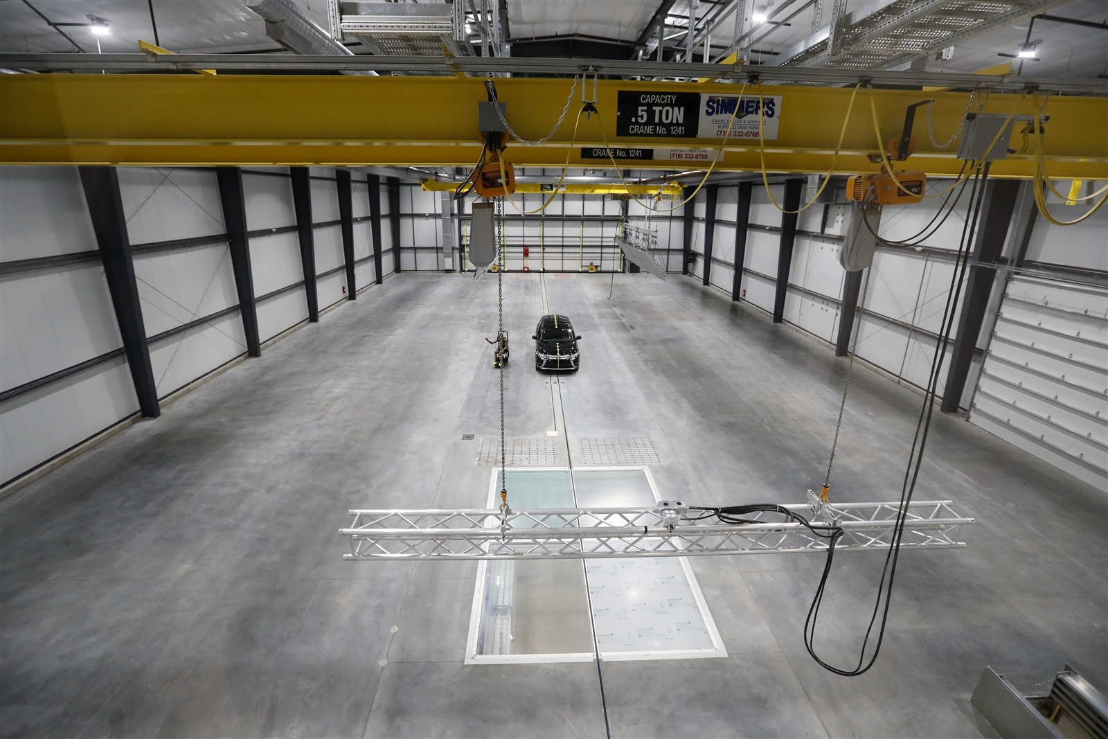 The high-impact testing area of Calspan's new auto crash-test facility.