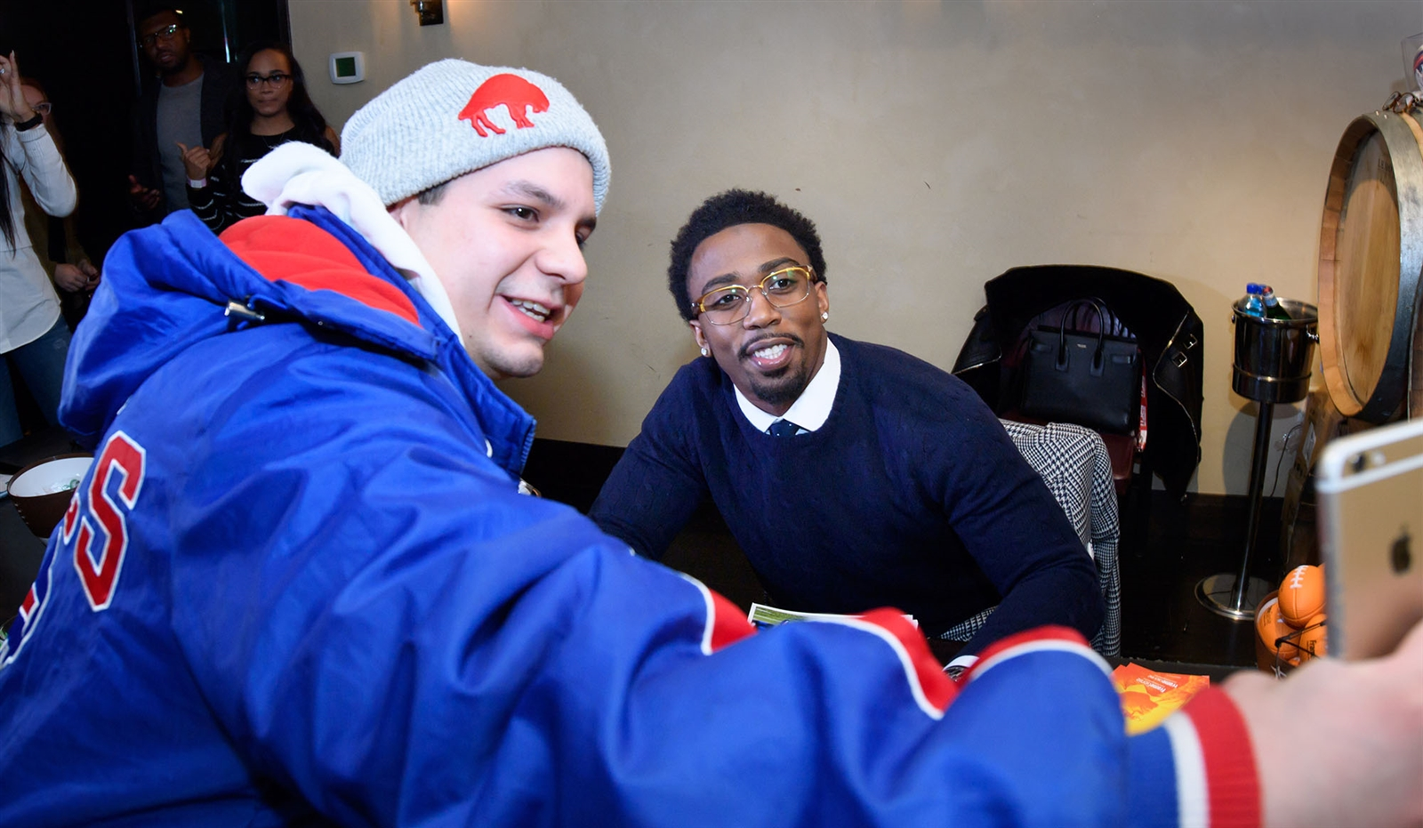 Bill's fan Tom Callahan, who lives in Minneapolis but grew up in Buffalo, took his photo with Buffalo Bills QB Tyrod Taylor who is partnering with FrameGenie for for his new T2 frame collection.
