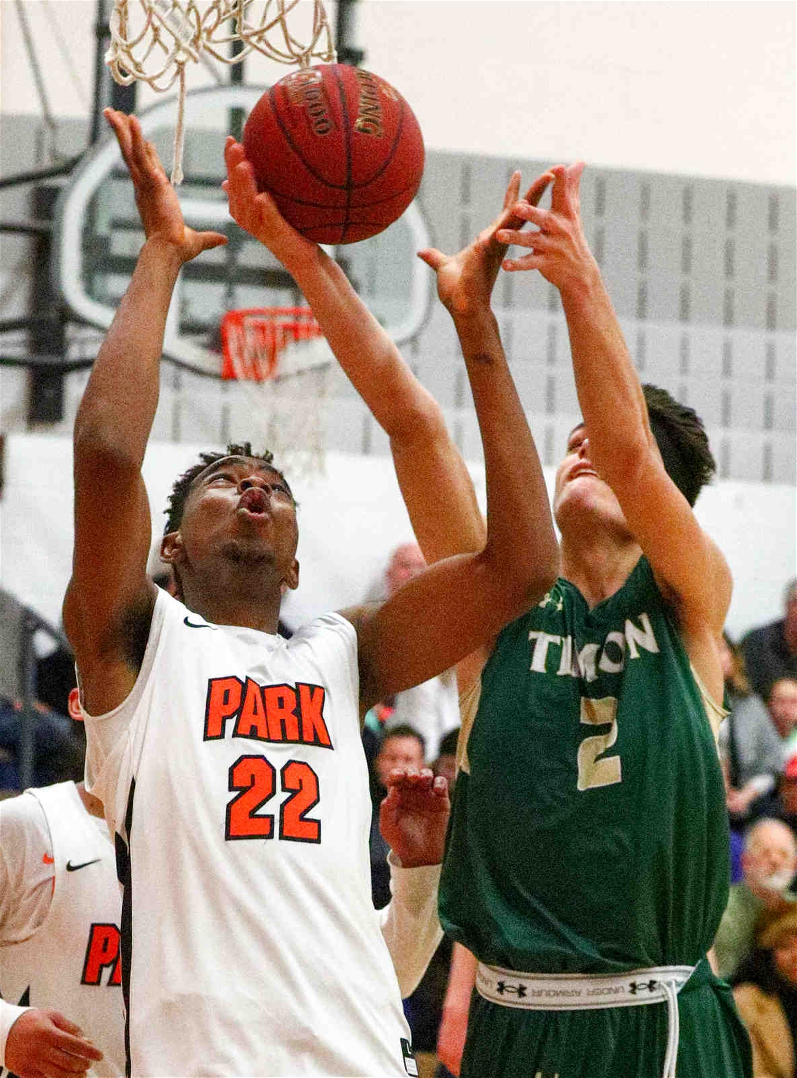 Timon's Alero World battles for the rebound against Park's  John Ese Orogun.