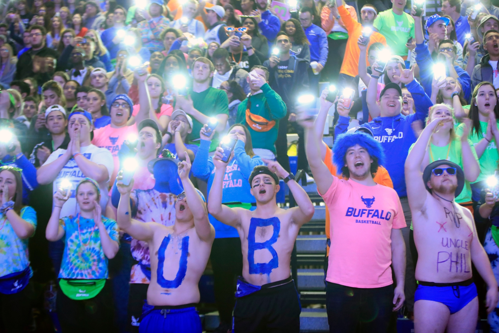 University at Buffalo fans cheer on their team against Western Michigan prior to first half action at Alumni Arena on Friday, Feb. 2, 2018.
