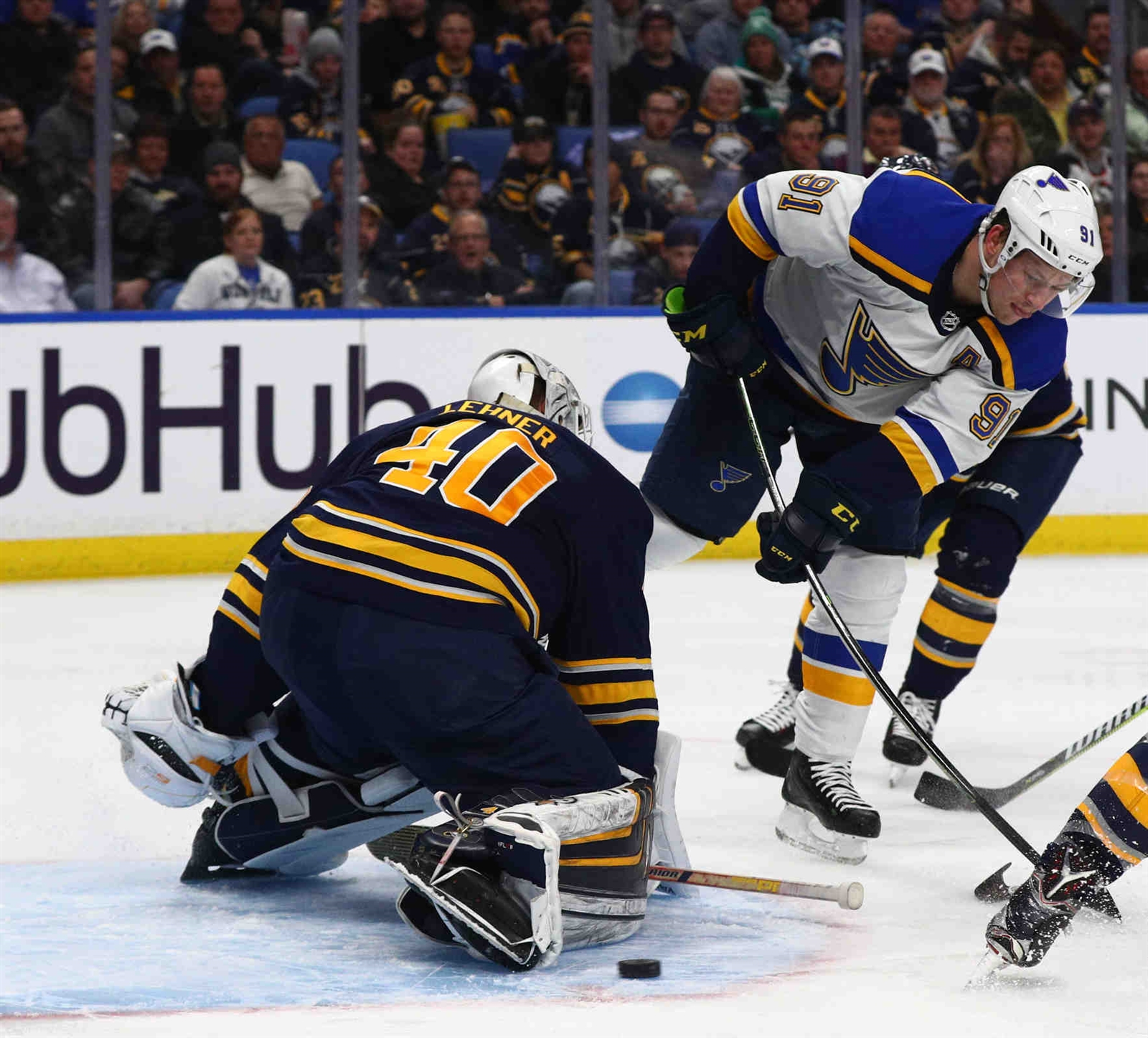 Buffalo Sabres goaltender Robin Lehner (40) makes a great save on a shot by St. Louis Blues right wing Vladimir Tarasenko (91) in the second period.
