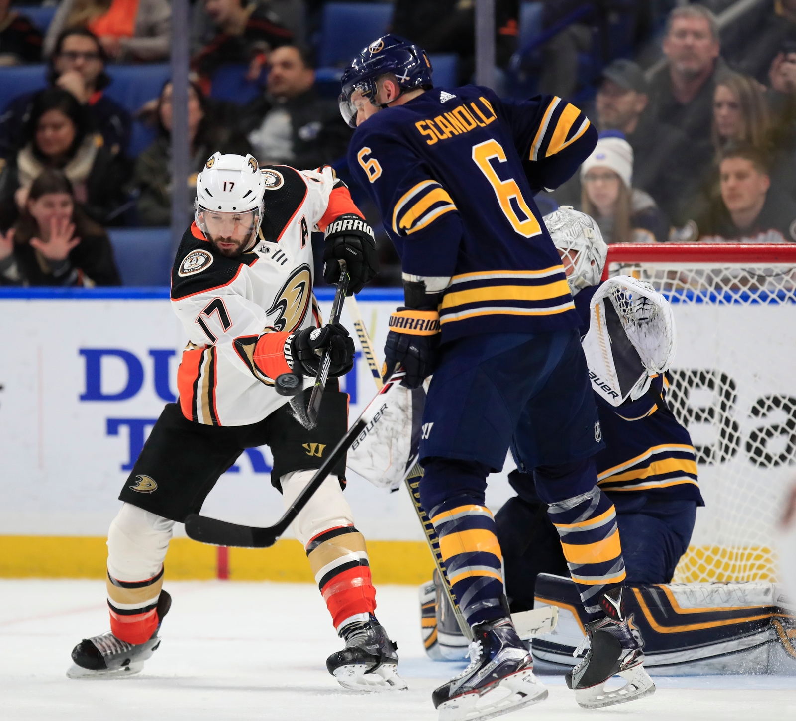 Anaheim Ducks Ryan Kesler tries to tip a puck against the Buffalo Sabres during first period action at the KeyBank Center on Tuesday, Feb. 6, 2018.