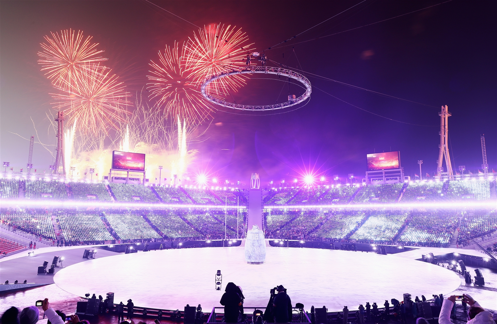 Fireworks explode during the Opening Ceremony of the Pyeongchang 2018 Winter Olympic Games at PyeongChang Olympic Stadium on Feb. 9, 2018, in Pyeongchang, South Korea.