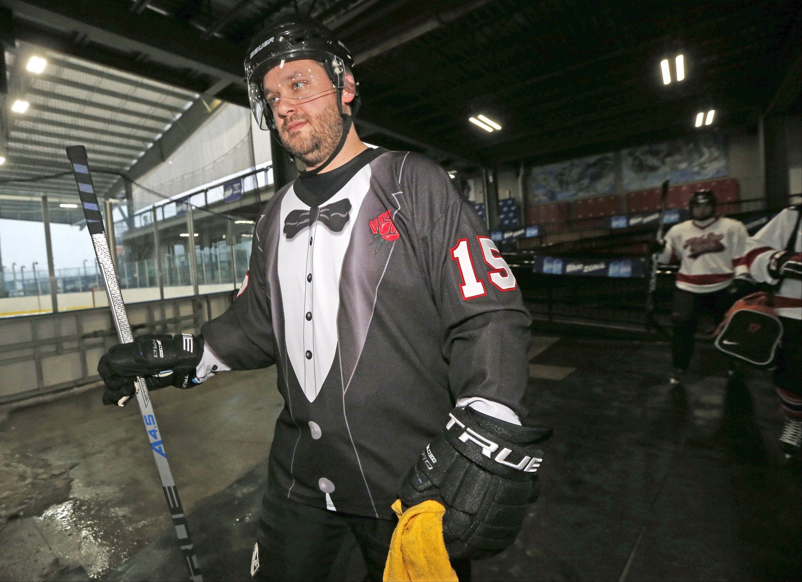 Shane Cashdollar, a cybersecurity consultant from Washington, D.C., takes to the ice with his team called Old Skool.
