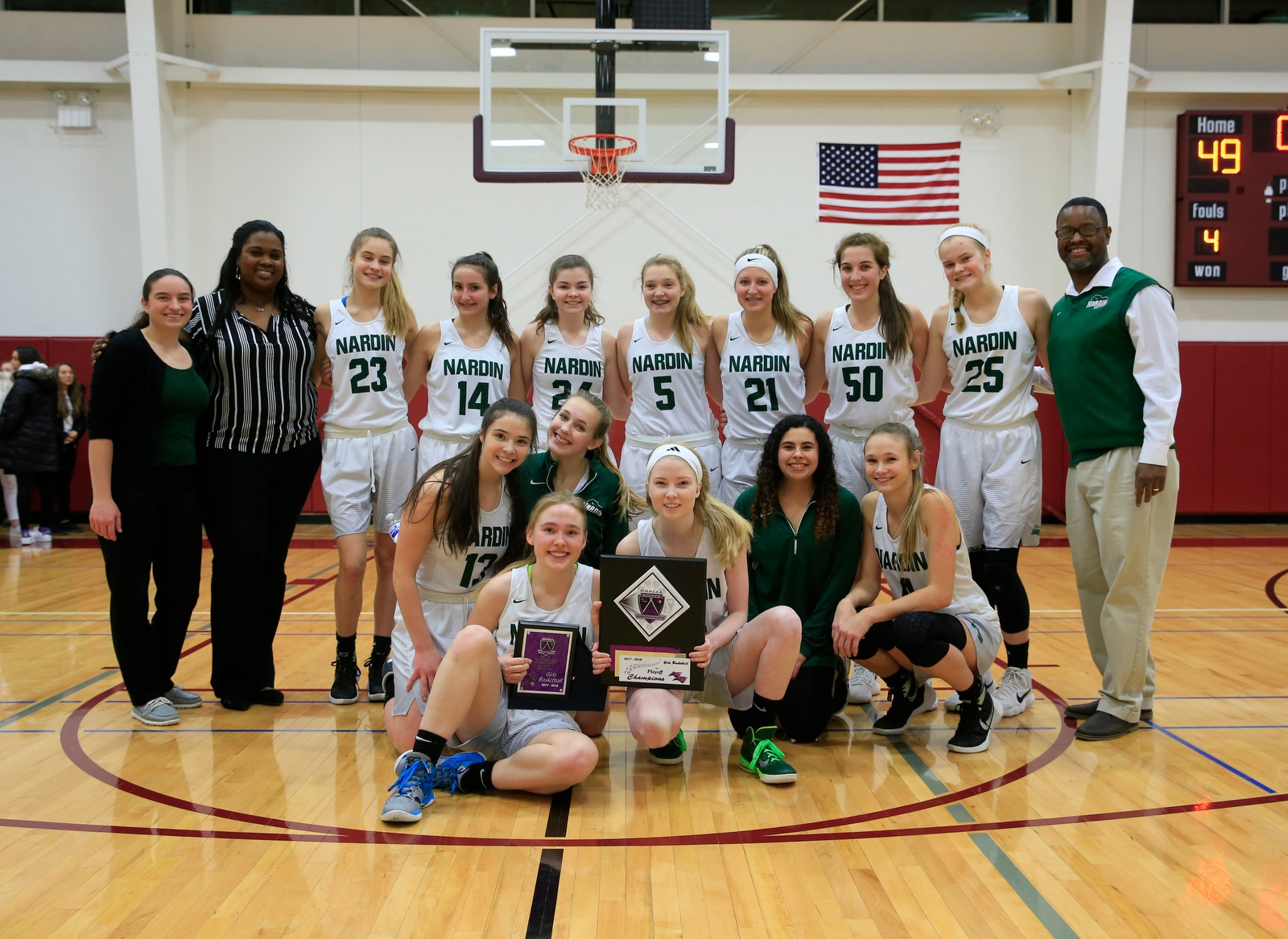 Nardin celebrates its victory over Park for the Monsignor Martin Division B championship at Sacred Heart high school on Friday, March 2, 2018.