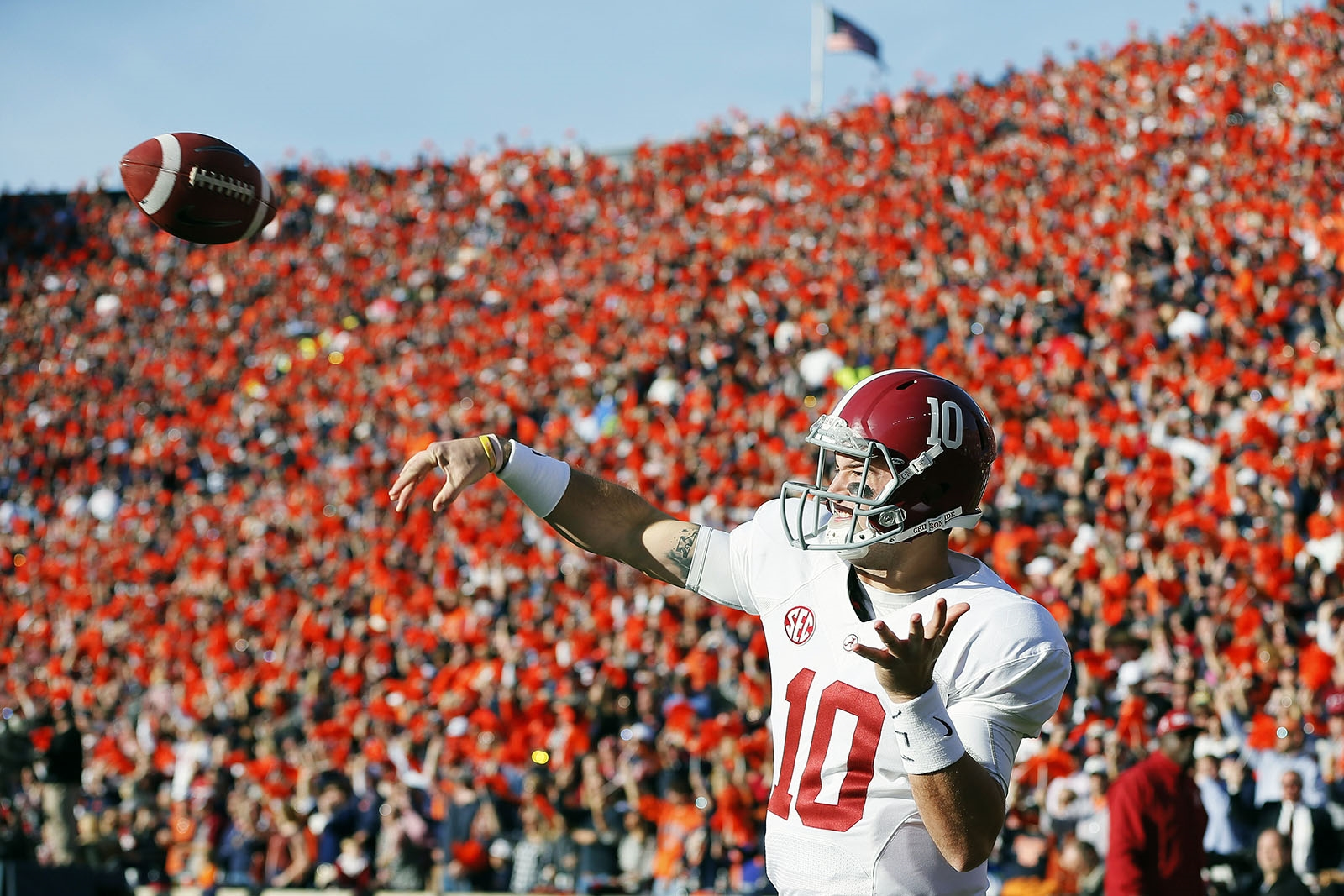 Nov. 30, 2013: AJ McCarron (10) of the Alabama Crimson Tide warms up before a game against the Auburn Tigers at Jordan-Hare Stadium in Auburn, Ala.