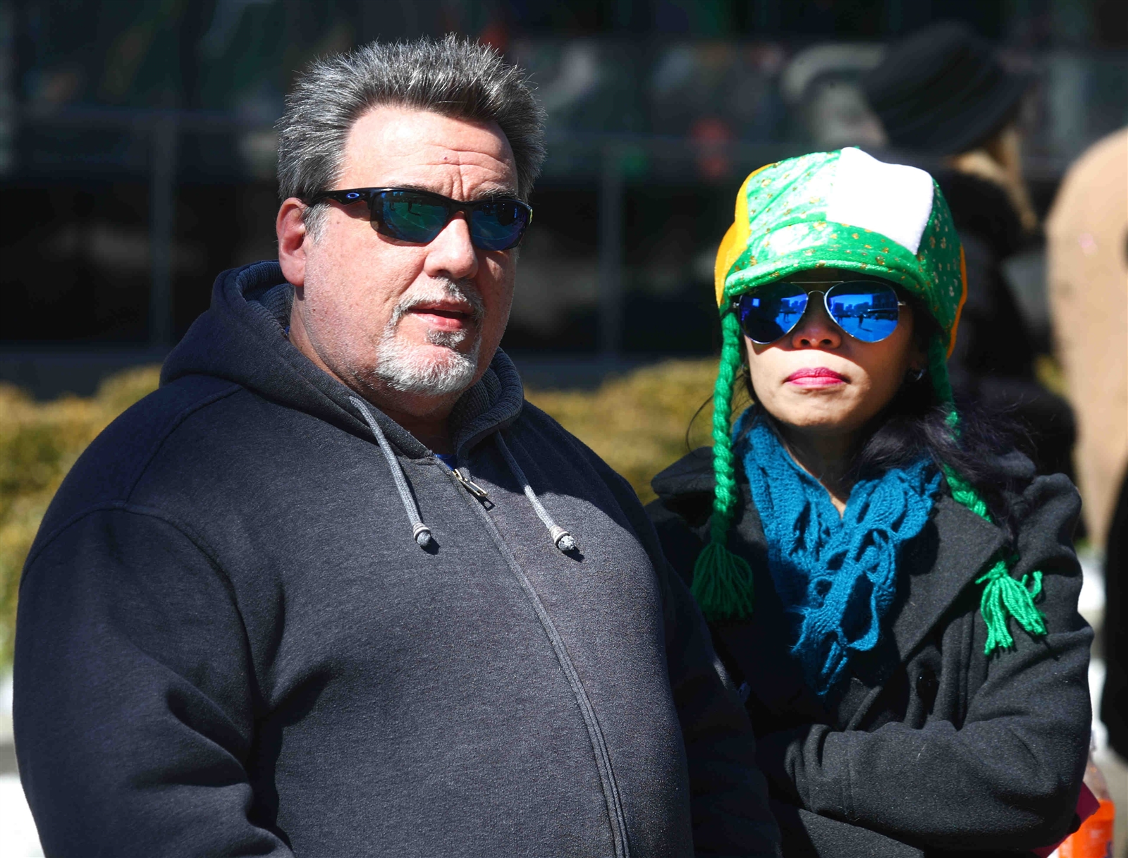 Shane and Ariy Phillips watch the annual St. Patrick's Day parade.