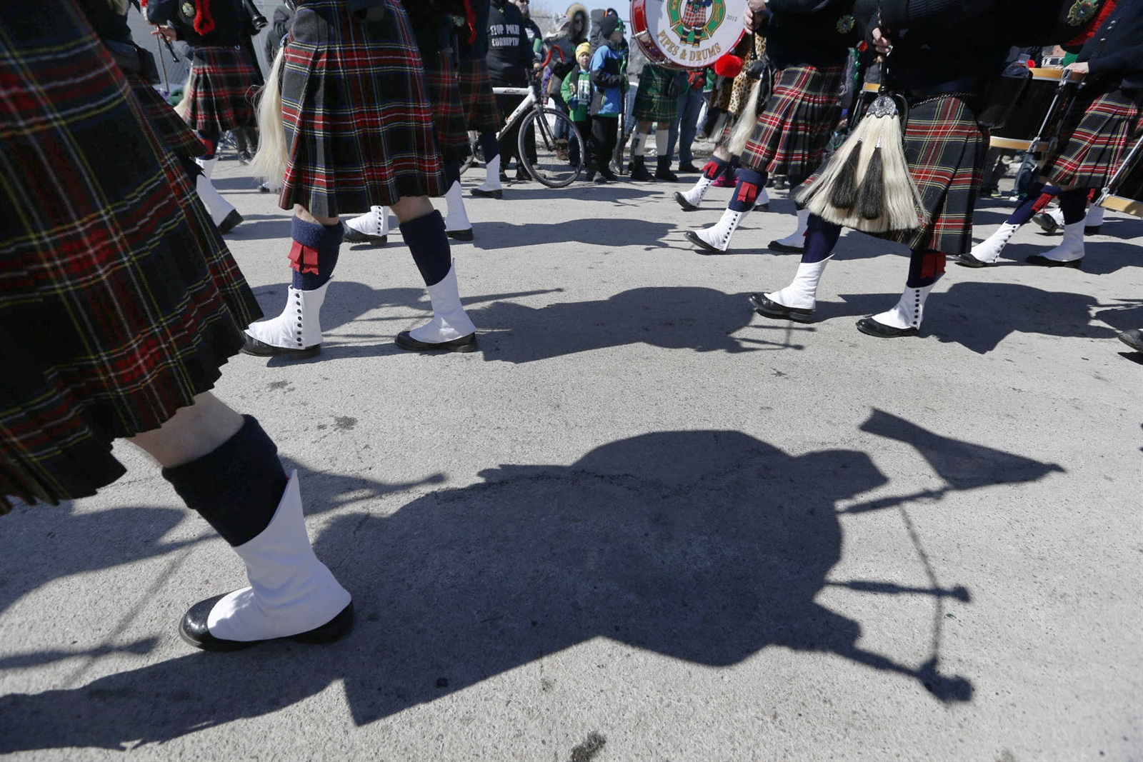 Day 74: March 18, 2018 - The Greater Buffalo Firefighters Pipes & Drums march in the 25th annual Old Neighborhood St. Patrick's Day Parade in the Old First Ward on Saturday, March 17, 2018.
