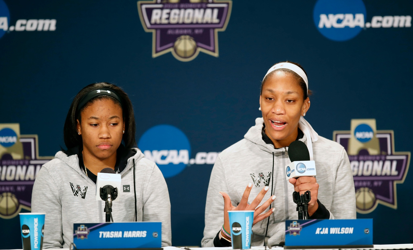 South Carolina forward Tyasha Harris and A'ja Wilson during a press conference before a regional semifinal game against the University at Buffalo in the NCAA women's college basketball tournament at the Times Union Center on Friday March 23, 2018.