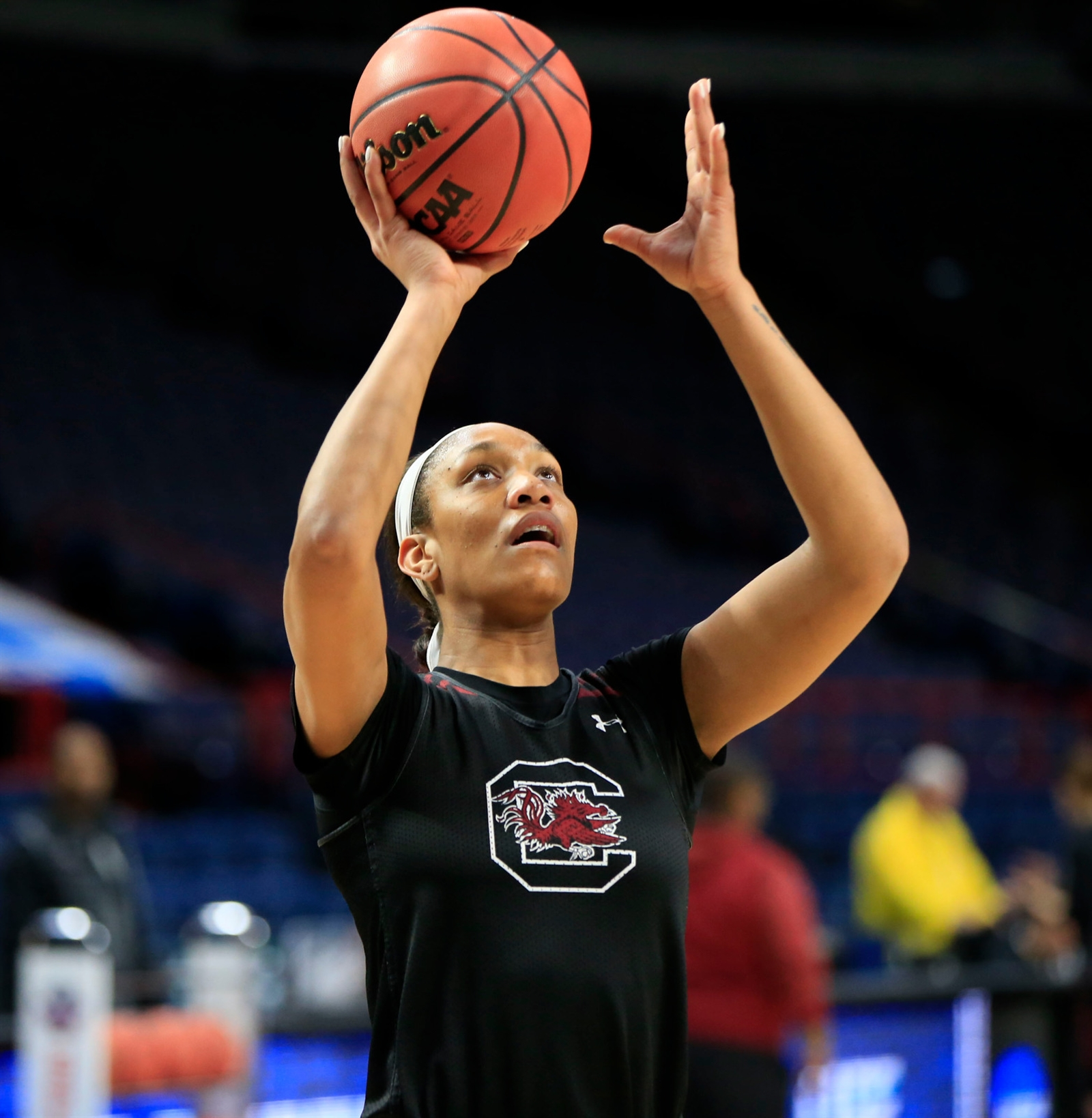 South Carolina forward A'ja Wilson shoots before a regional semifinal game against the University at Buffalo in the NCAA women's college basketball tournament at the Times Union Center on Friday March 23, 2018.