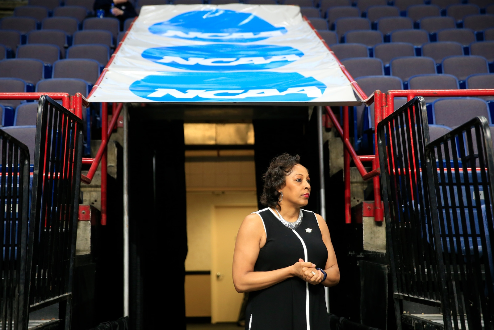 Buffalo coach Felisha Legette-Jack stands in the walkway prior to playing South Carolina in a NCAA women's college basketball tournament regional semifinal at the Times Union Center on Saturday March 24, 2018.