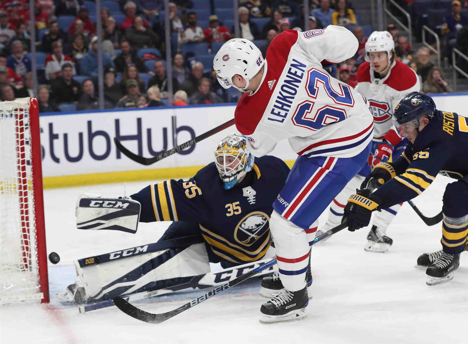 Montreal Canadiens left wing Artturi Lehkonen (62) scores a goal on Buffalo Sabres goaltender Linus Ullmark (35) in the second period.