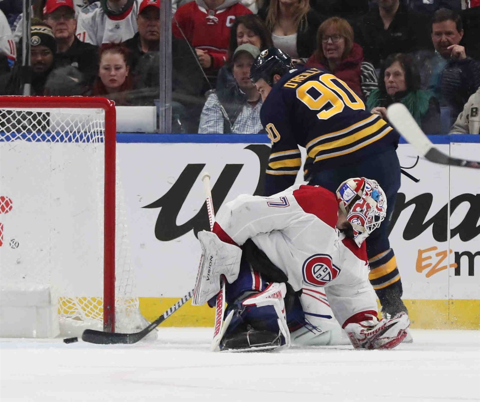 Buffalo Sabres center Ryan O'Reilly (90) misses on open net while Montreal Canadiens goaltender Antti Niemi (37) was out of position in the second period.
