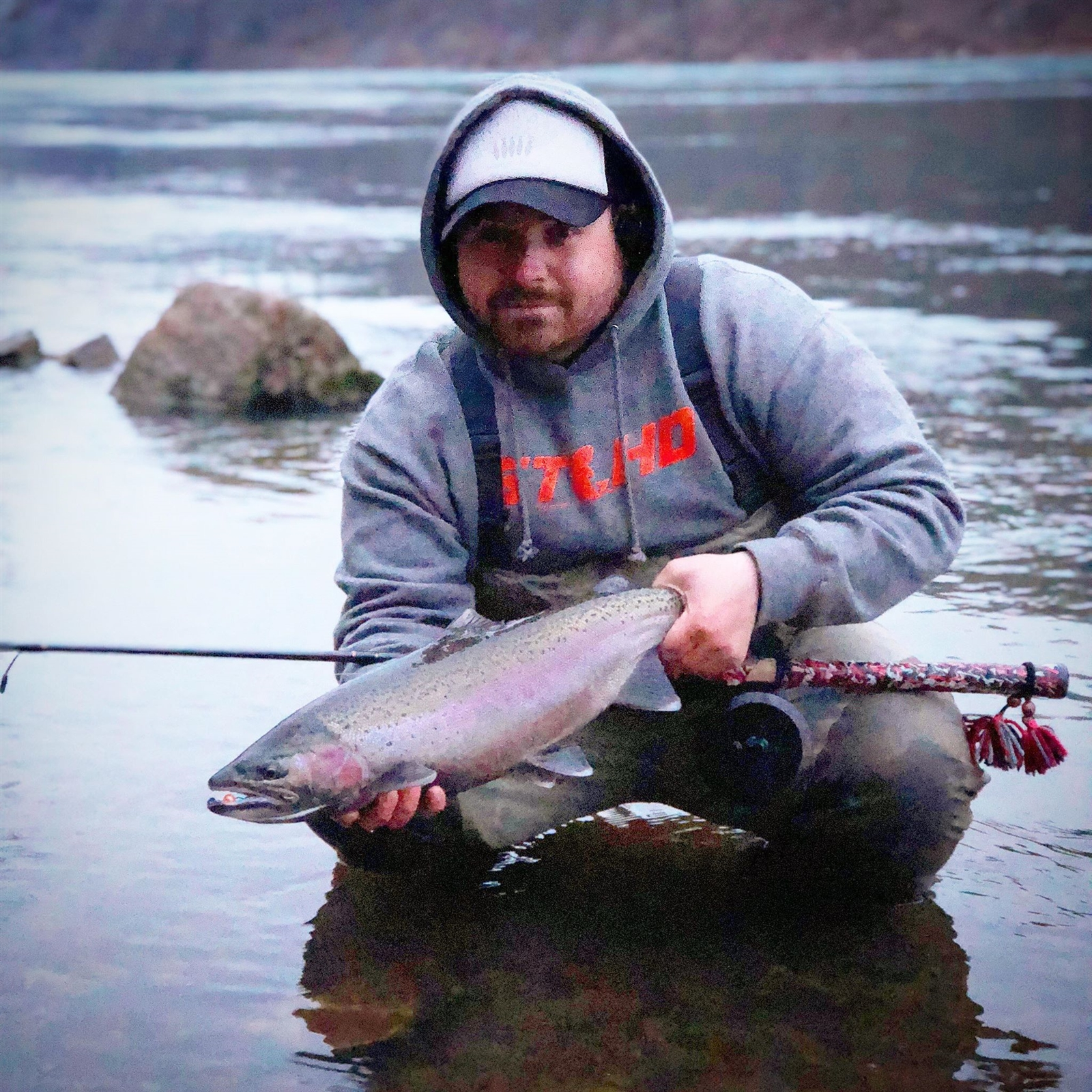Capt. Nick Calandrelli of Lewiston reeled in this lower Niagara River steelhead while he fished a bead.