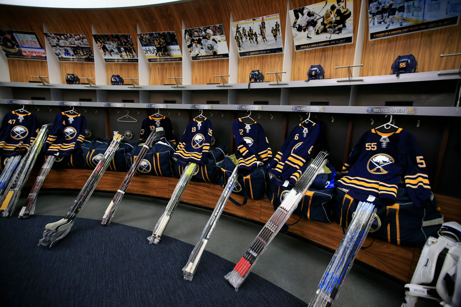 Members of Buffalo Sabres cleaned out their lockers on Monday, April 9, 2018, at KeyBank Center.