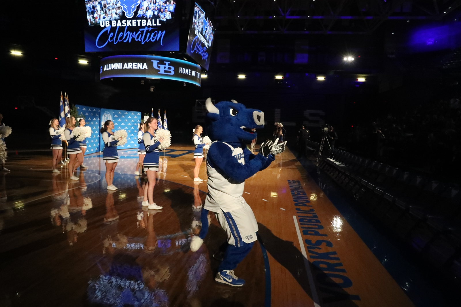 UB hosted a fan party/pep rally to celebrate the success of the men's and women's basketball teams at Alumni Arena.