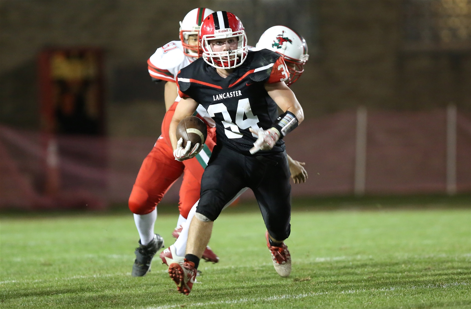 Lancaster defeated Jamestown, 56-14, to win its home opener on Friday night. Legends quarterback Ryan Mansell had three touchdowns passes, while LG Castillo had two receiving touchdowns in the win.