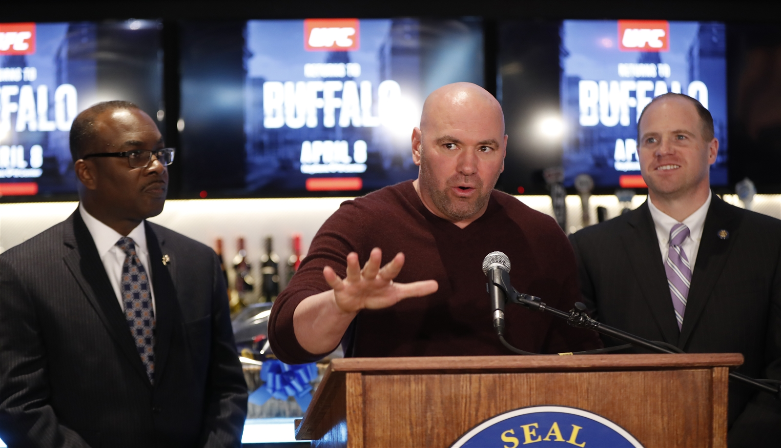 UFC President Dana White speaks during a press conference at (716).