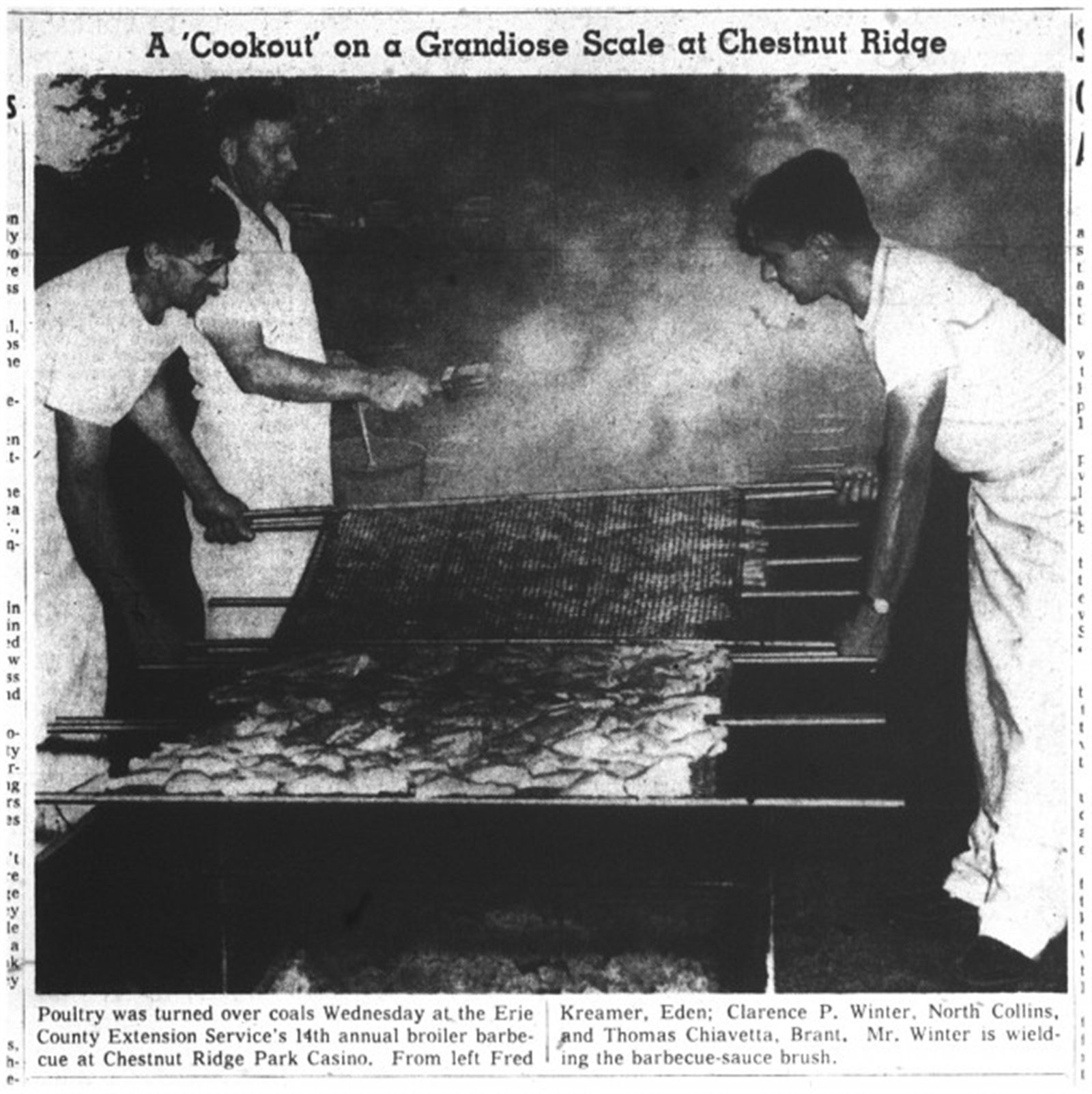 Family patriarch Thomas Chiavetta, who died in 1988, is seen in this 1959 photo manning the grill in much the same way his family still does today. (Although judging by the headline, the idea of a Chiavettau2019s barbecue was novel at the time.)