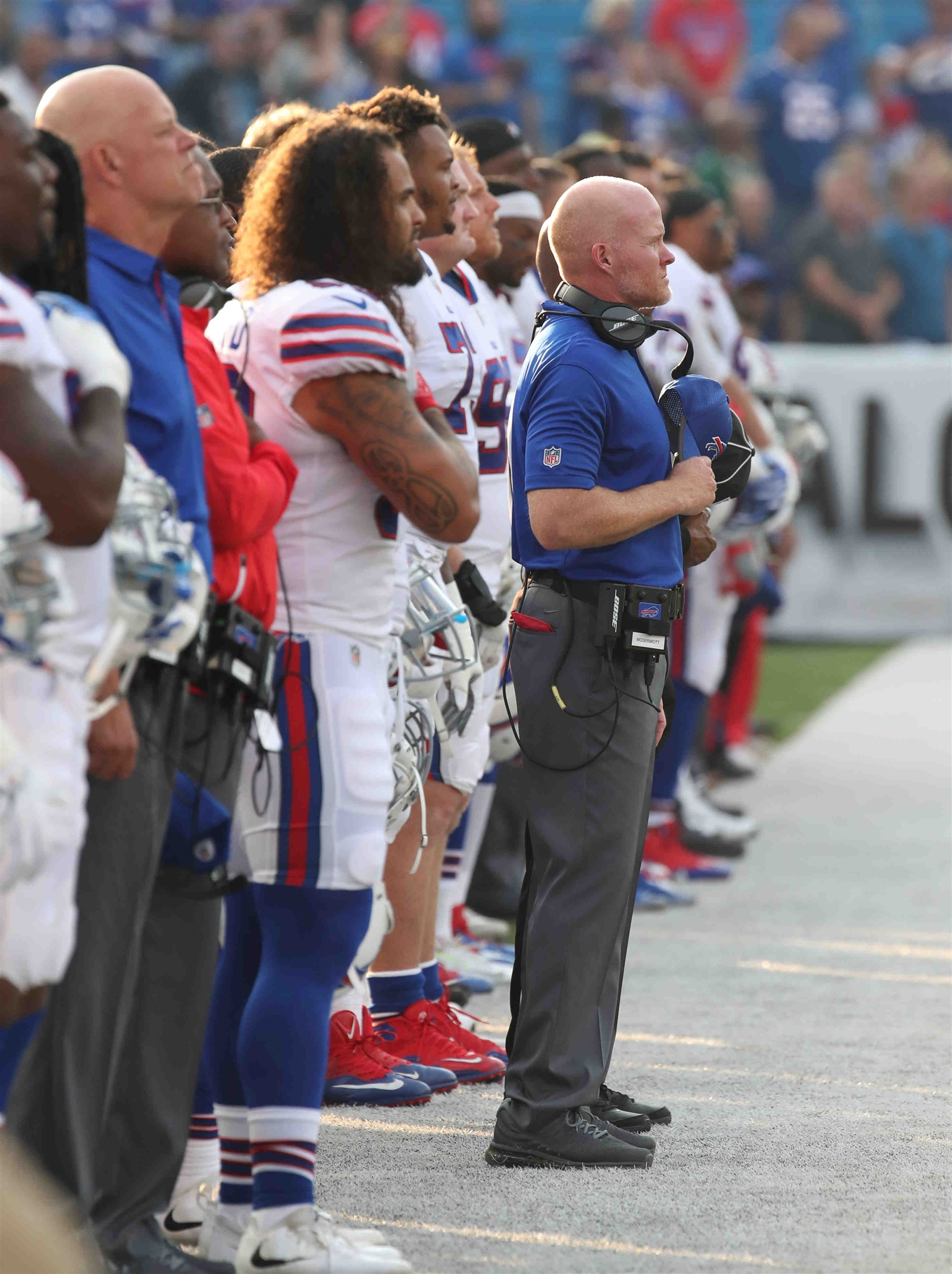 Buffalo Bills line up for the national anthem.