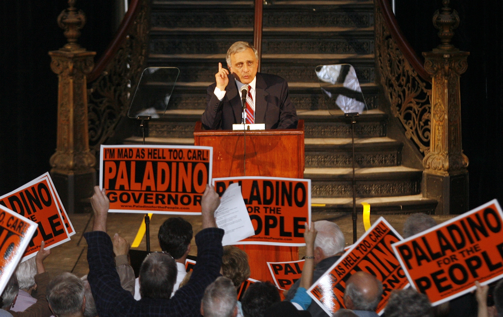 "April 5, 2010: Carl Paladino, seeking to tap into the anger of Tea Party supporters and voters disgruntled with u201cthe Albany ruling class,"" announces GOP bid for governor."