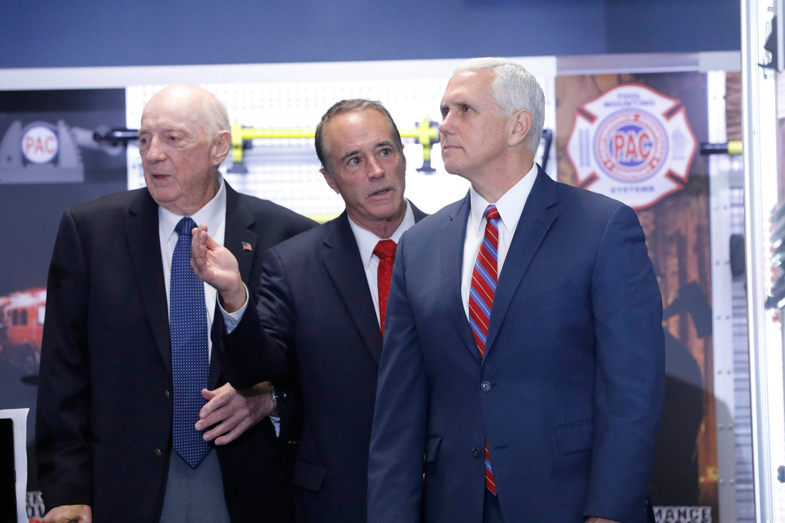 Vice President Pence tours Performance Advantage Company in Lancaster with Rep. Chris Collins, center and company founder Dick Young, Tuesday, Oct. 17, 2017.