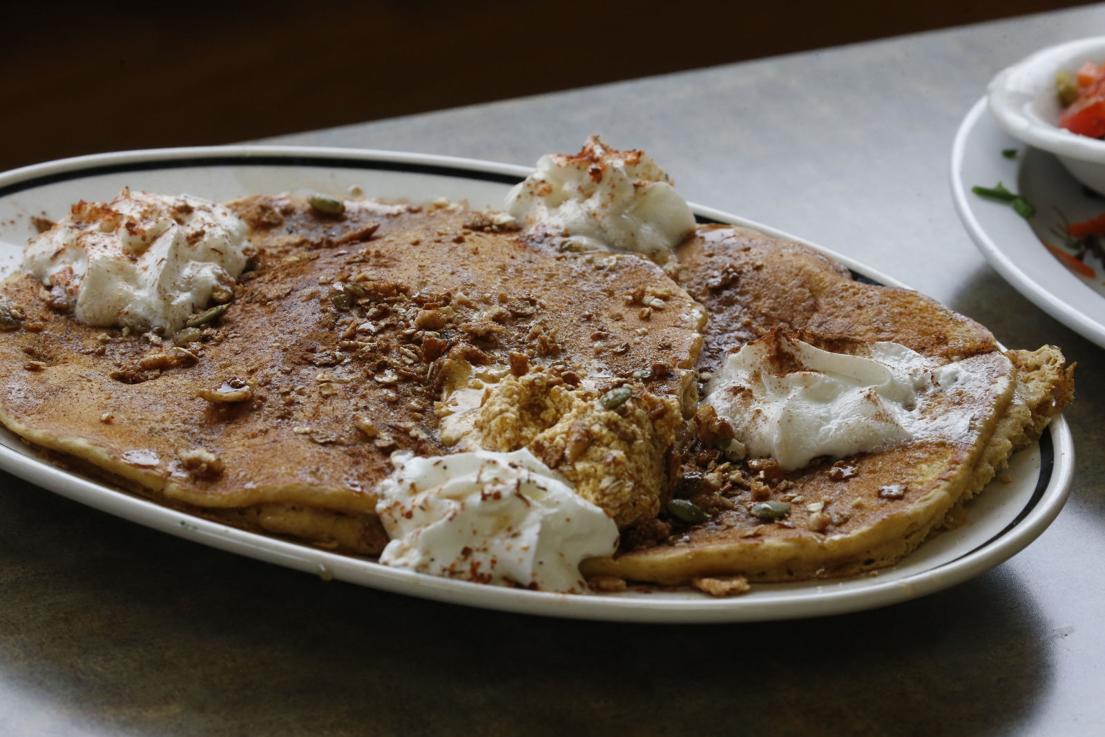 The smashed pumpkin pancakes are a seasonal favorite.