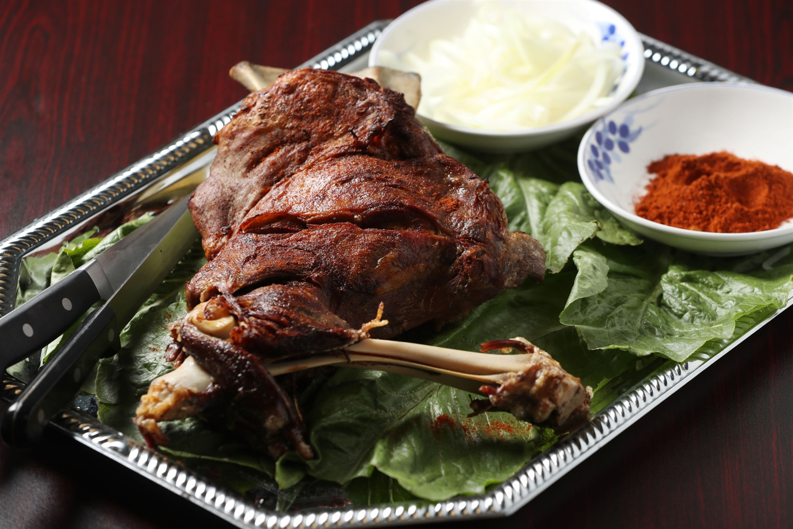 The roasted lamb leg, which is 4 to 5 pounds before cooking, is marinated in spices for an hour and cooked for another hour, which requires a two-hour pre-order.