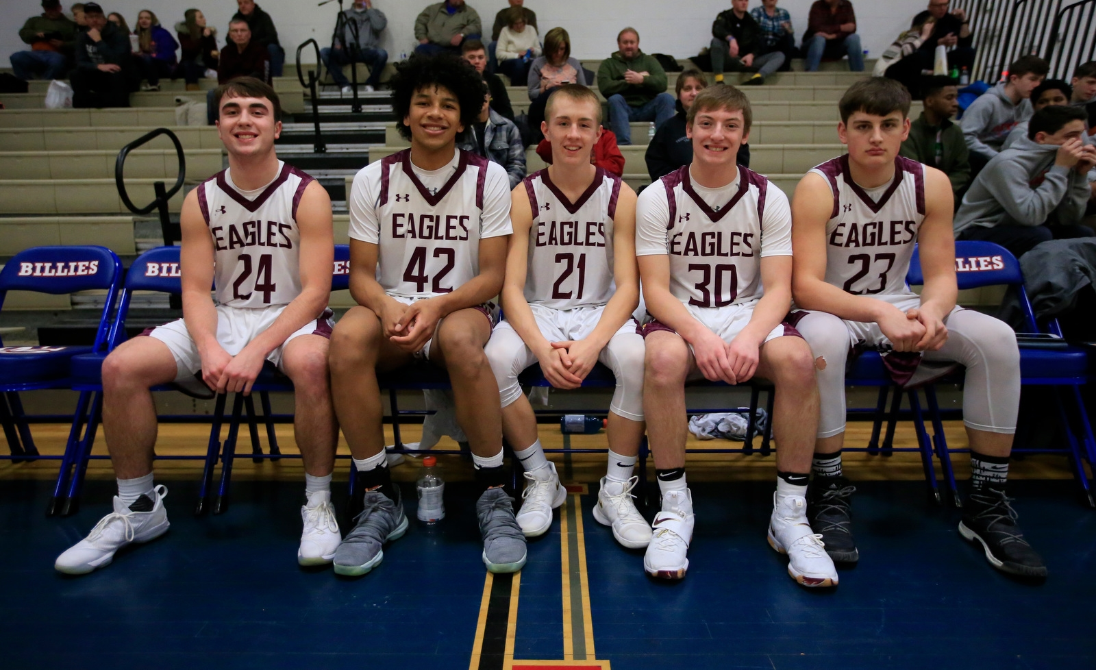 Ellicottville starters prior to playing Newfane in the Centercourt Classic hoops showcase at Williamsville South on Saturday, Feb. 3, 2018.